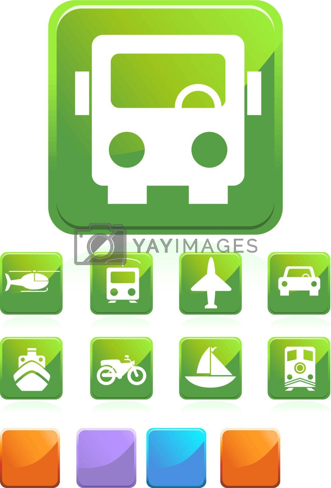 Set of 9 transportation web buttons - square style.