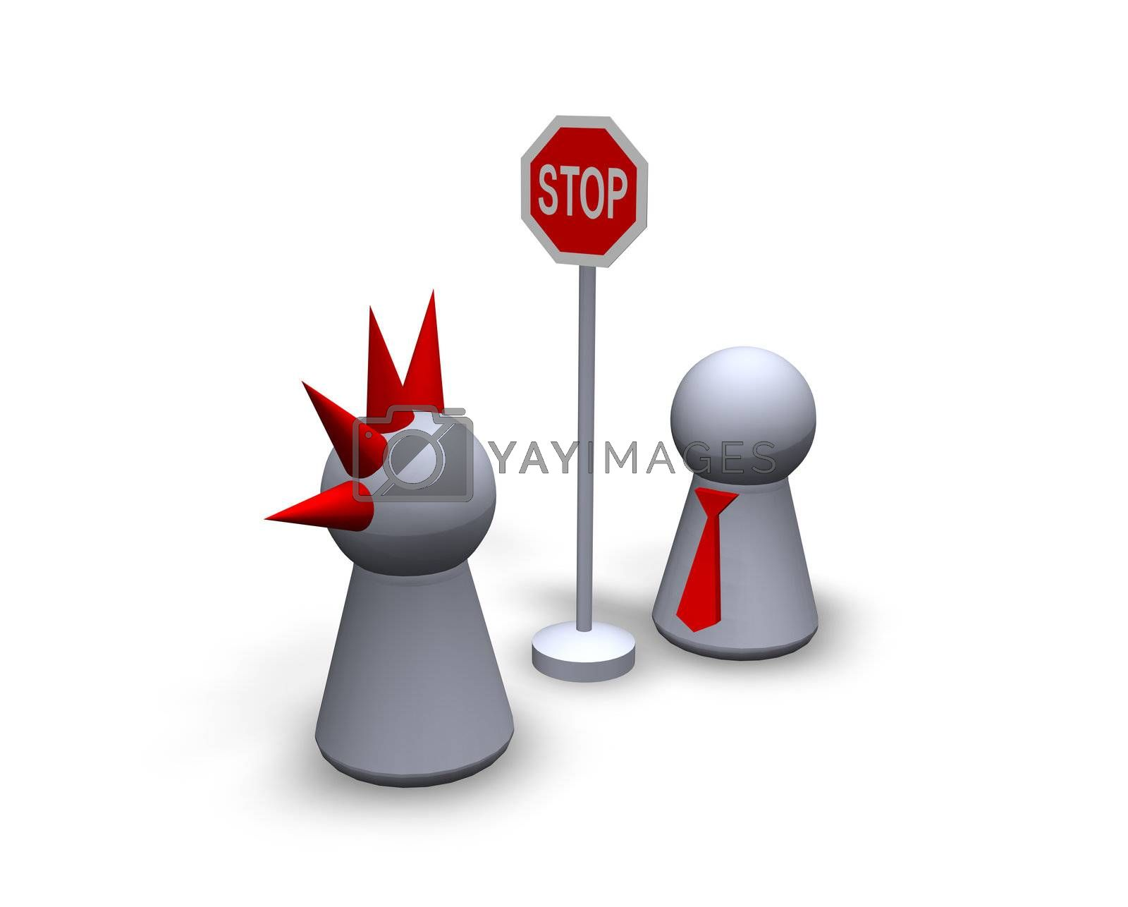 """play figures punk and businessman and roadsign """"stop"""""""
