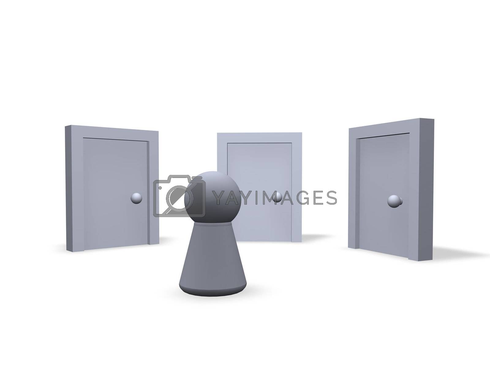 play figure and three closed doors