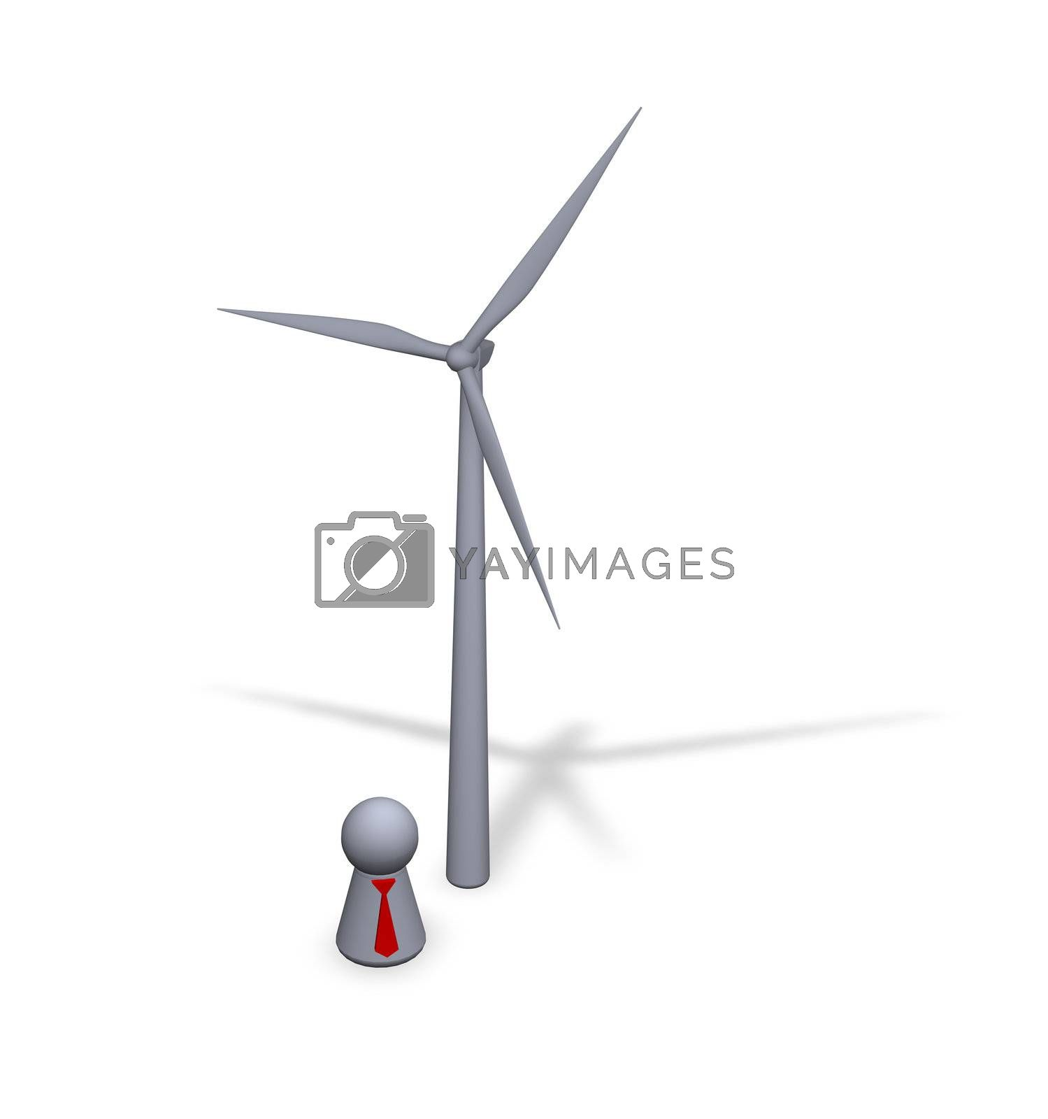 wind turbine and play figure with red tie