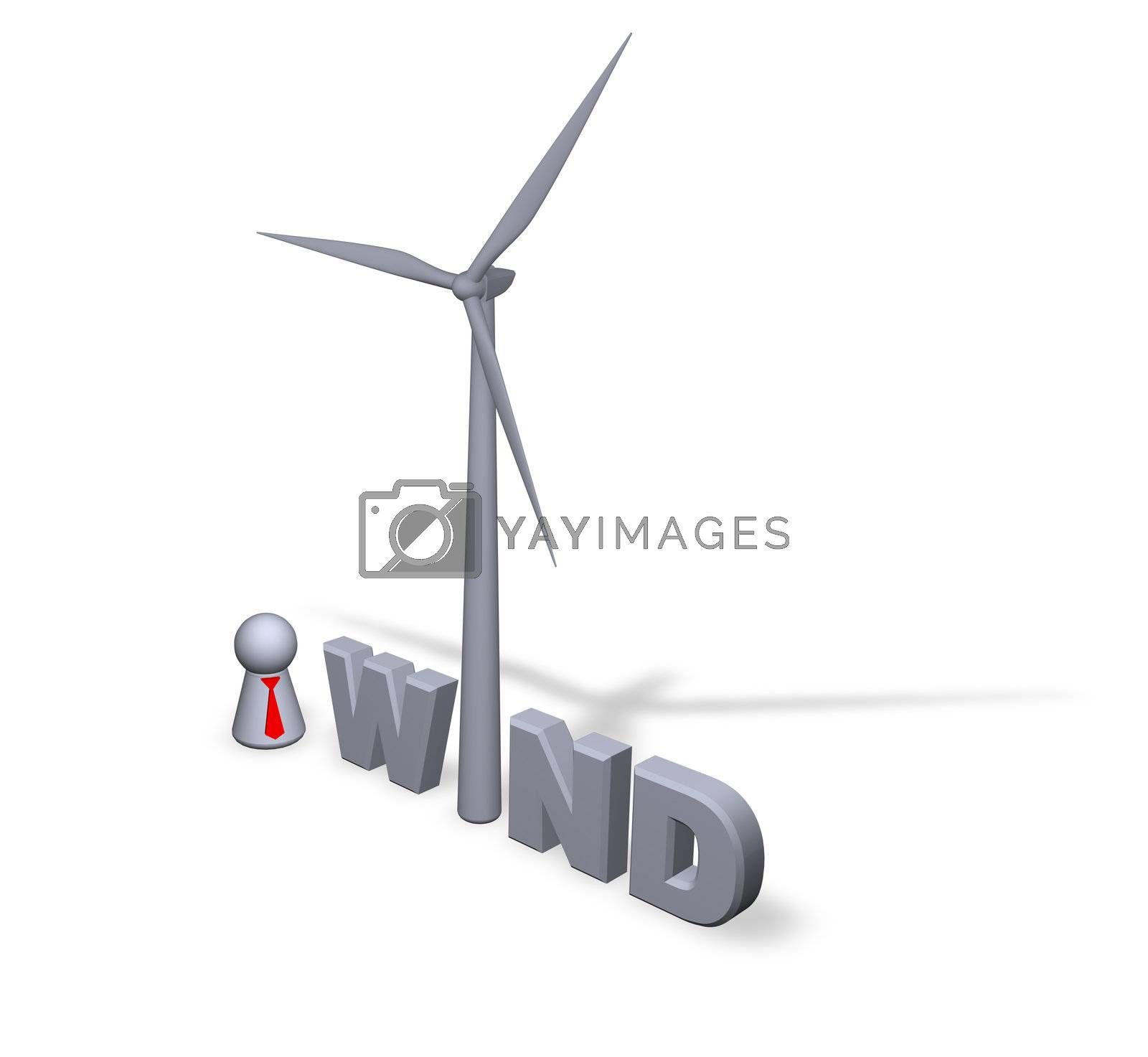 wind text in 3d, wind turbine and play figure businessman