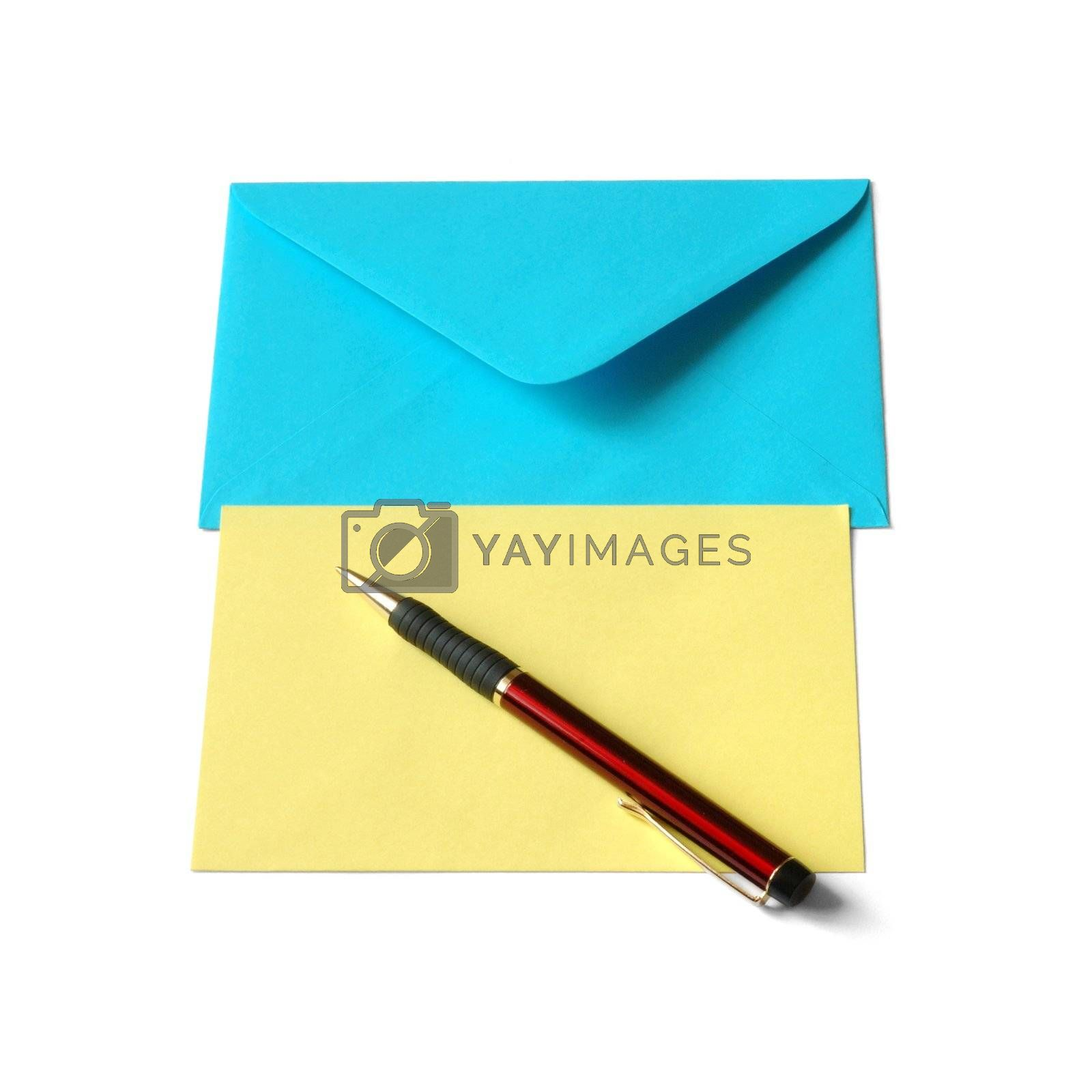 Envelope, paper and pen