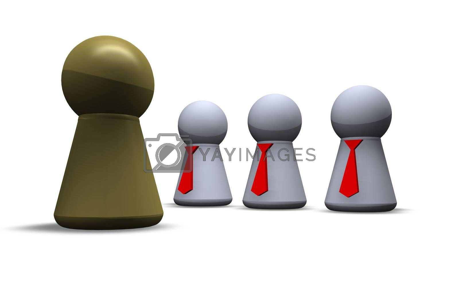 play figures with red tie and one in gold