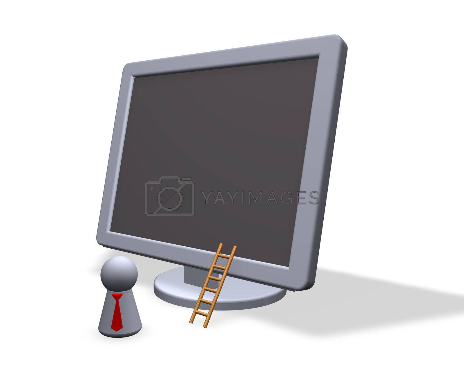 play figure with red tie and tft-monitor