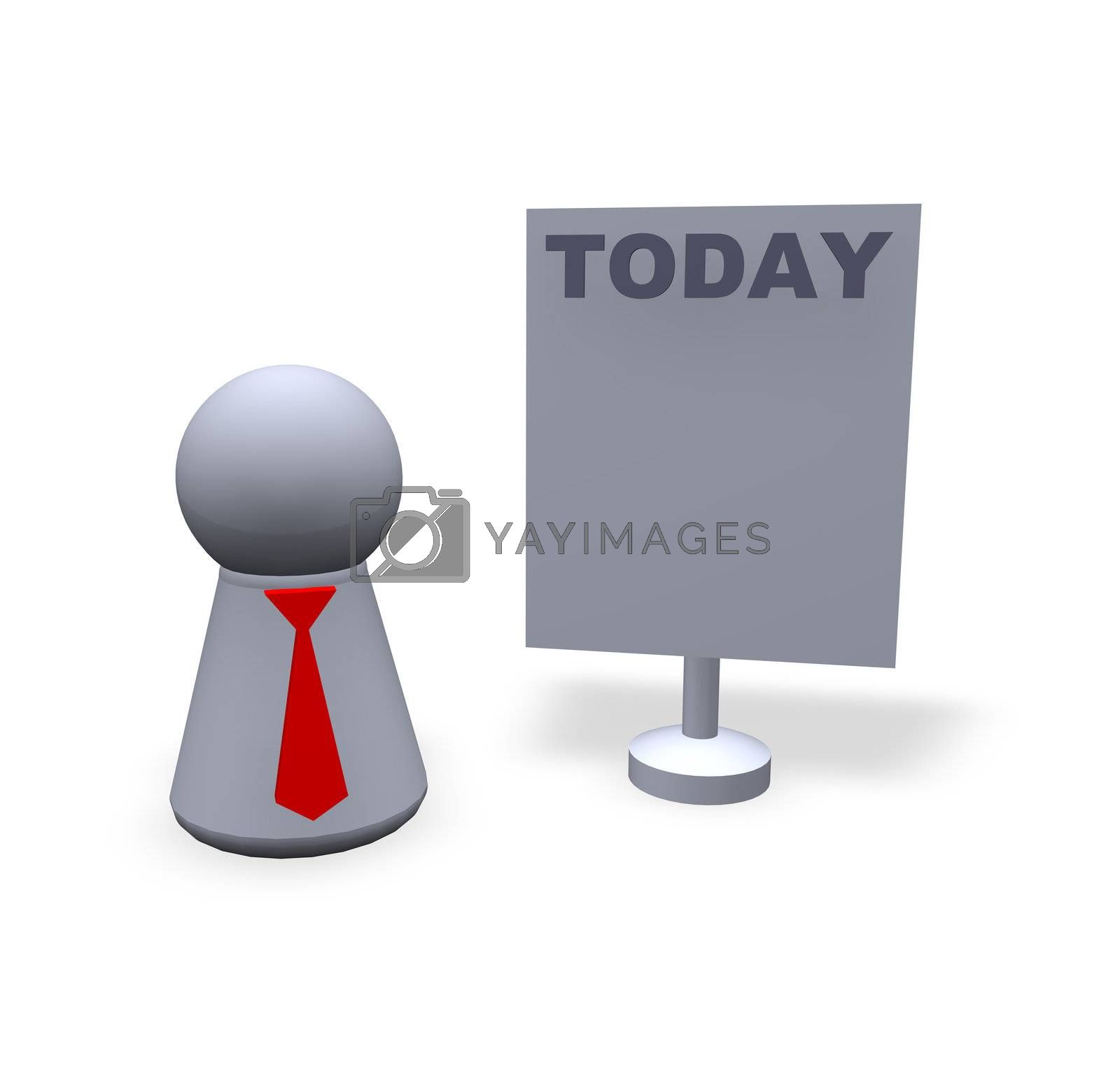 play figure with red tie and sign with today text