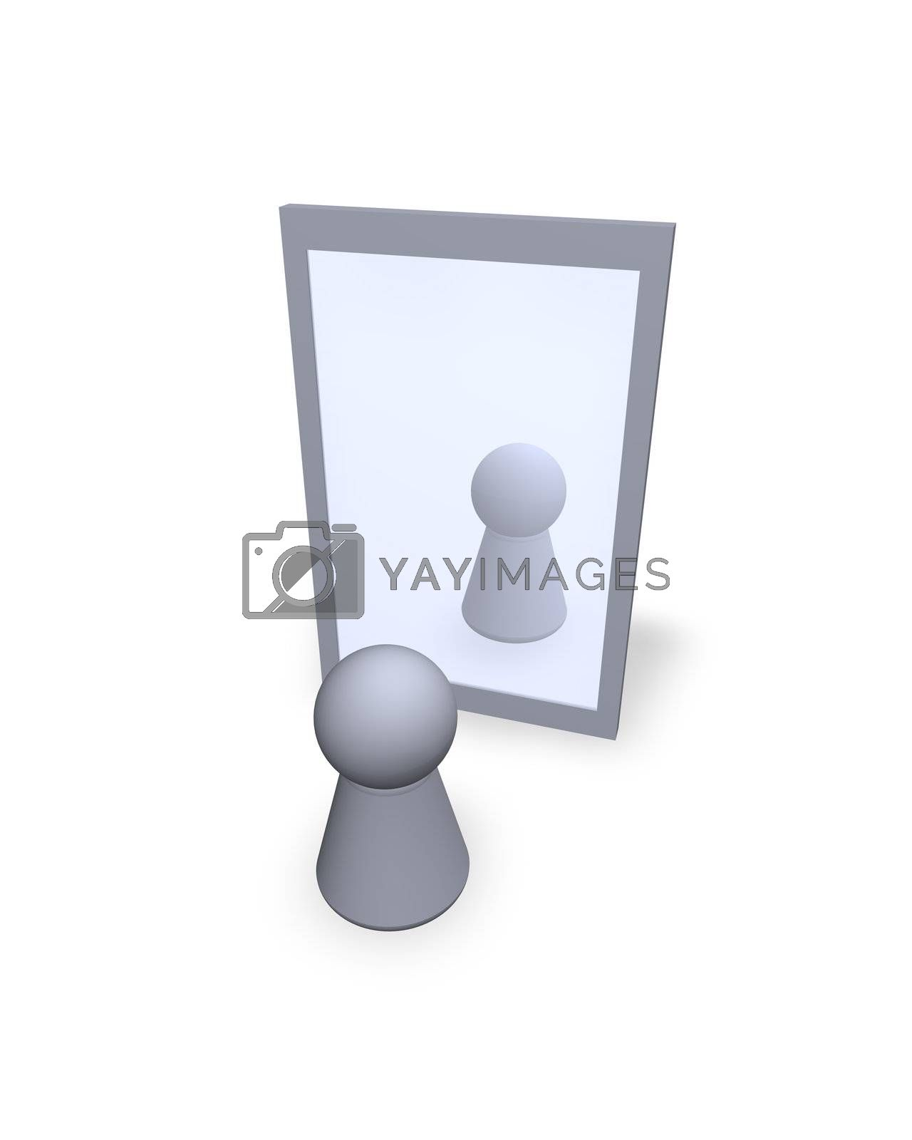 play figure  see itself at a mirror