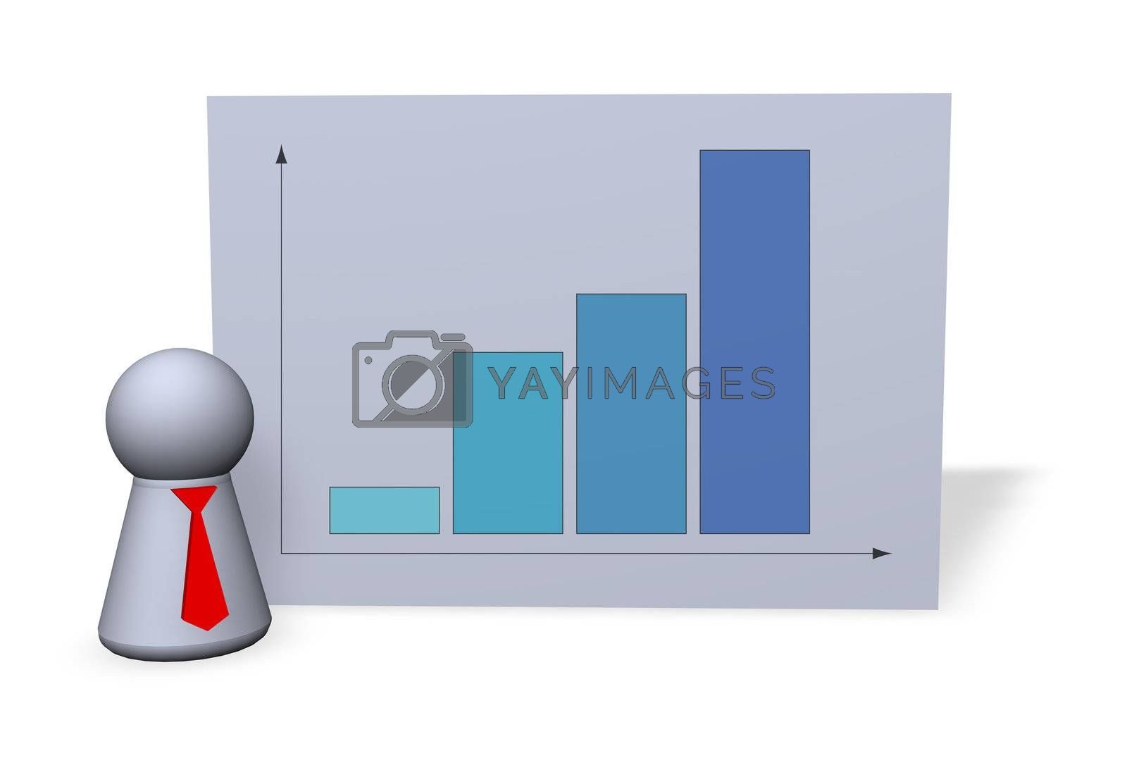 statistics board and play figure with red tie