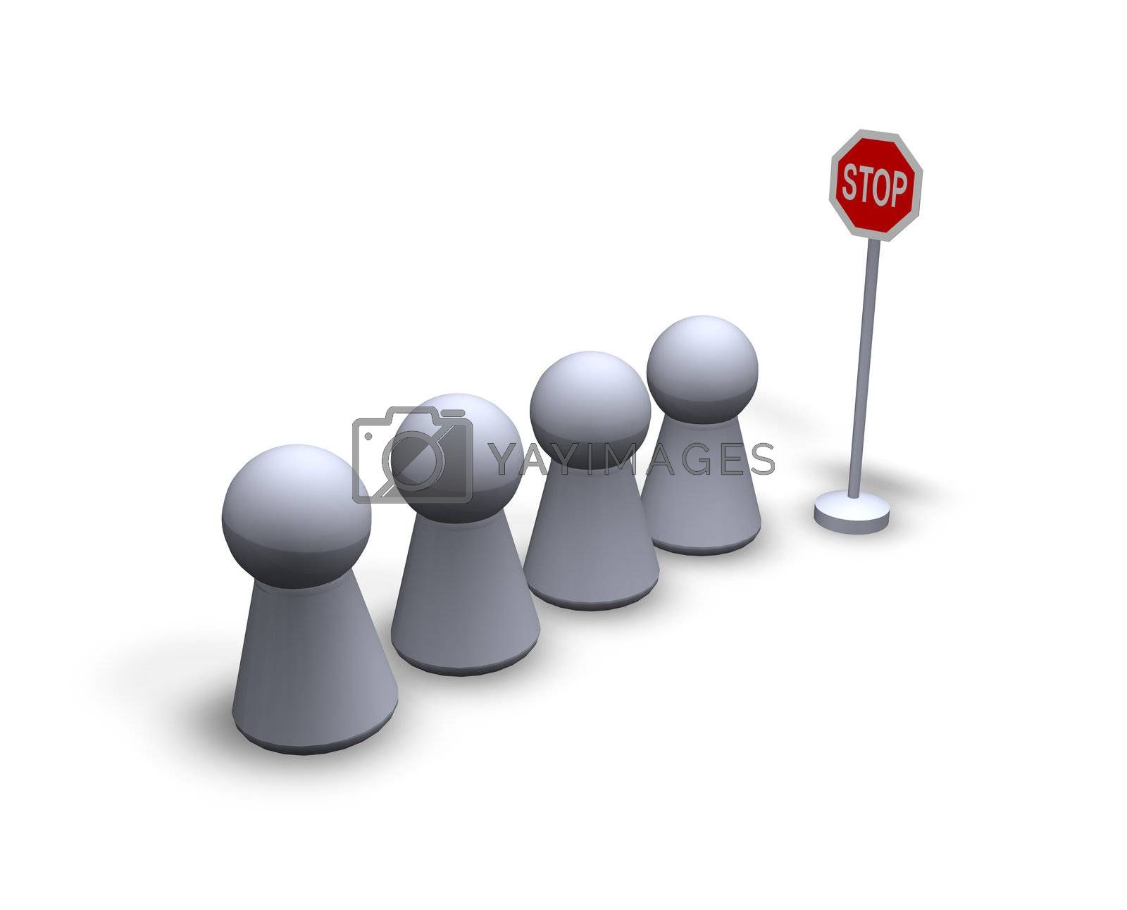 stop sign and waiting play figures