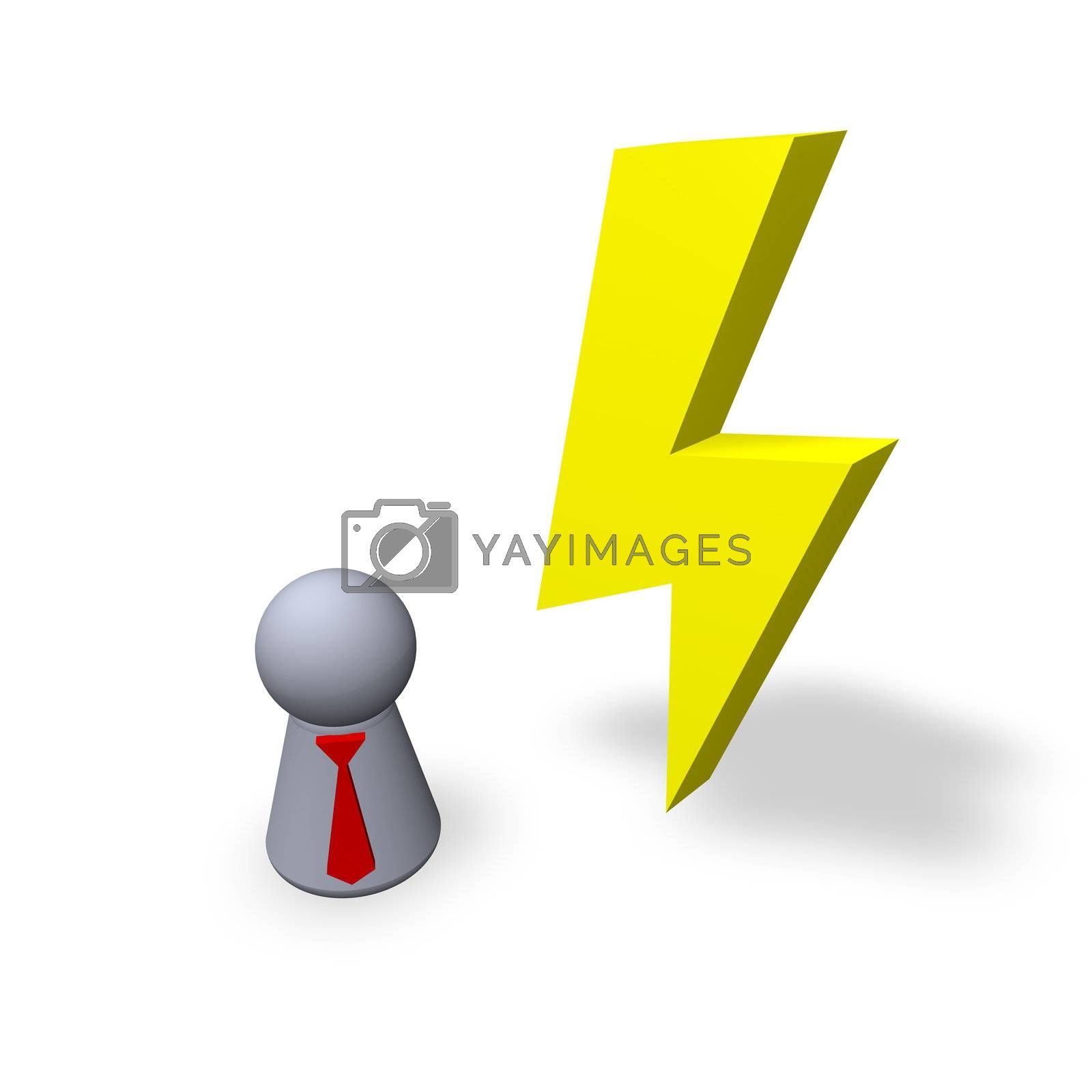 yellow flash and play figure with red tie