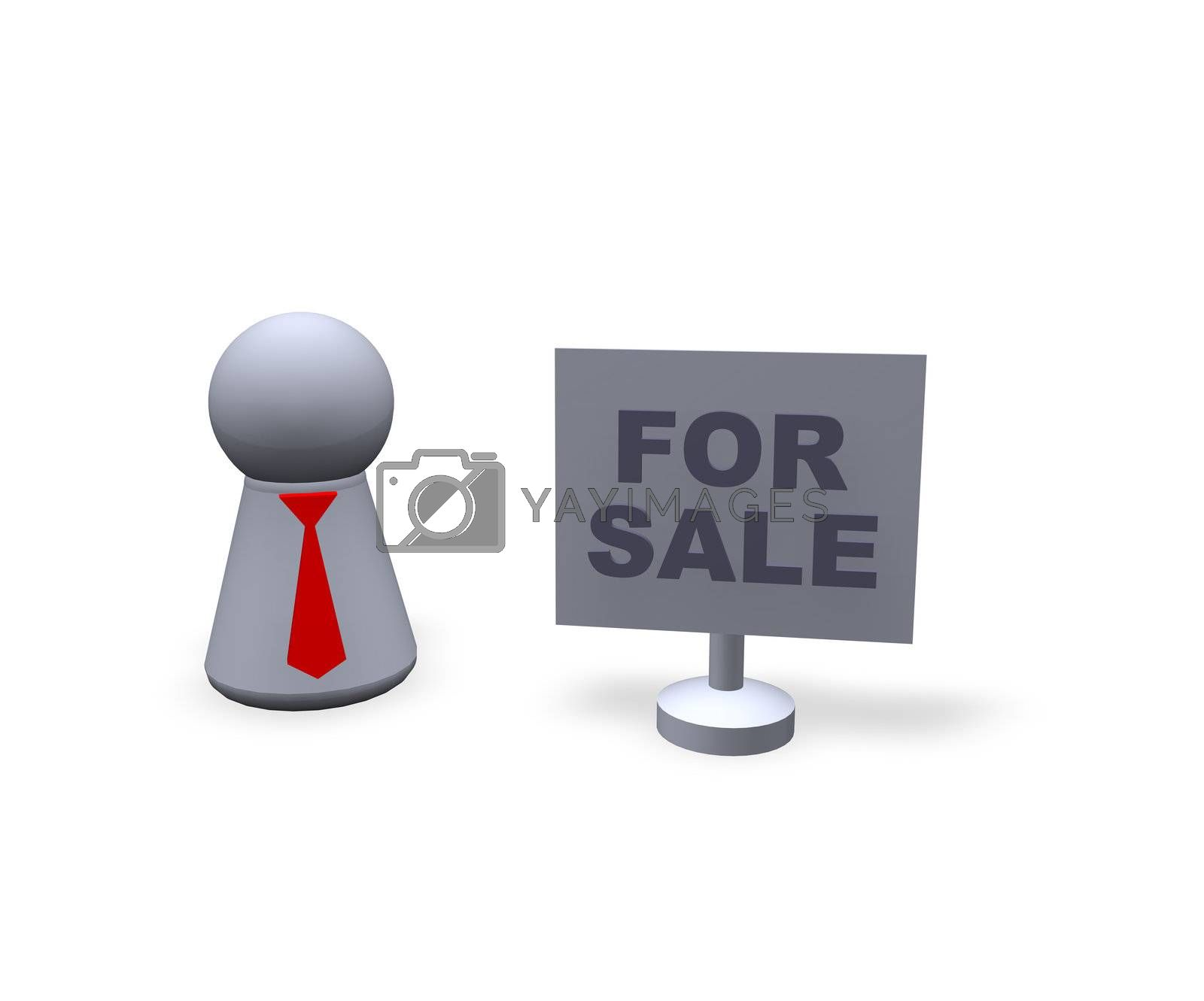play figure with red tie and sign with for sale text