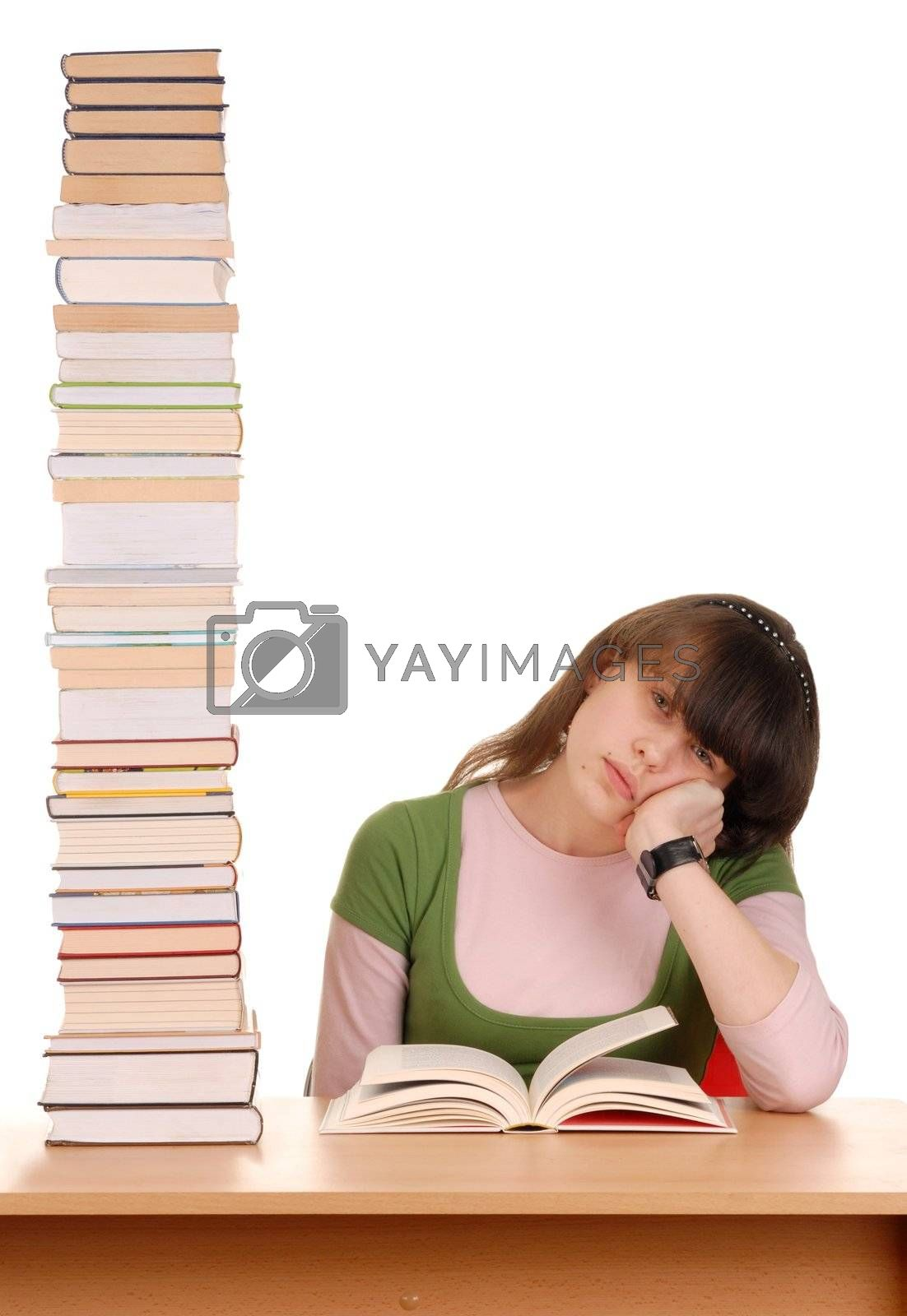 Schoolgirl with high stack of books to read