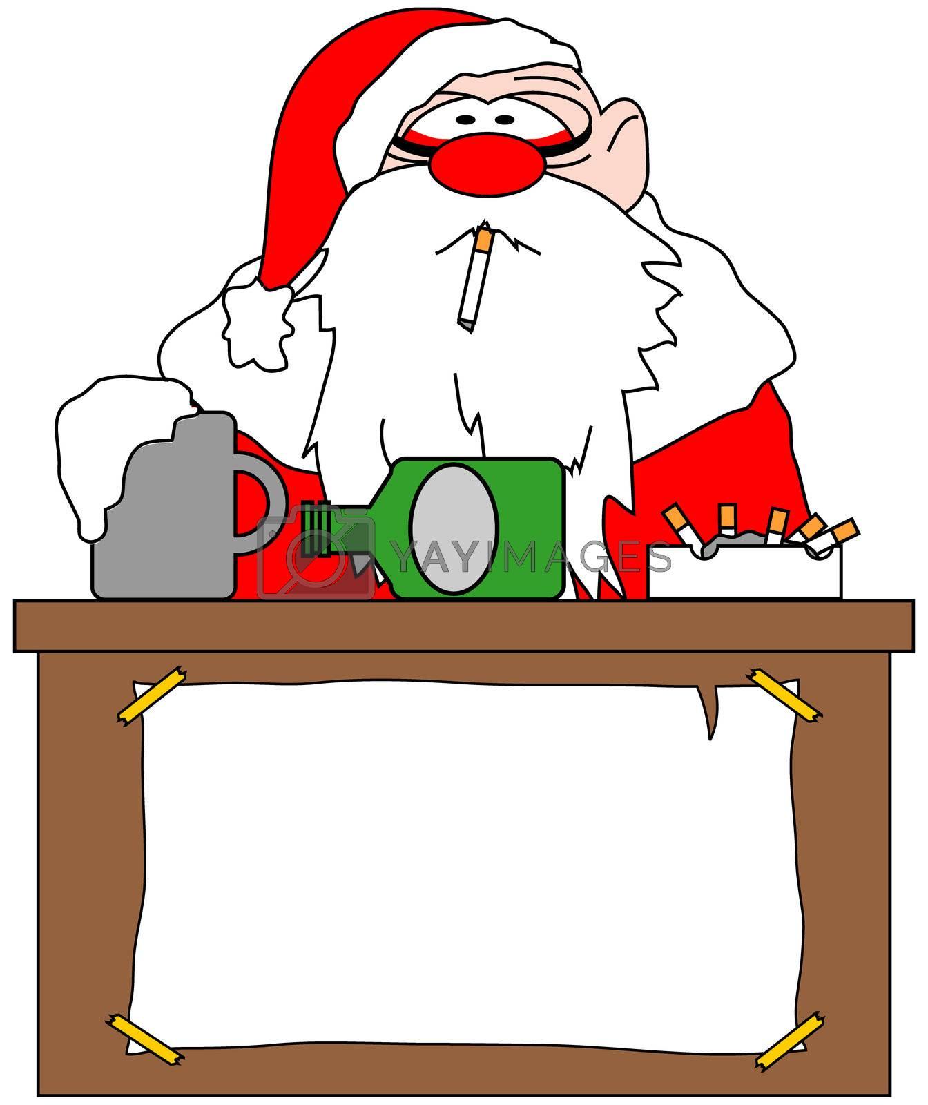 drunken santa illustration