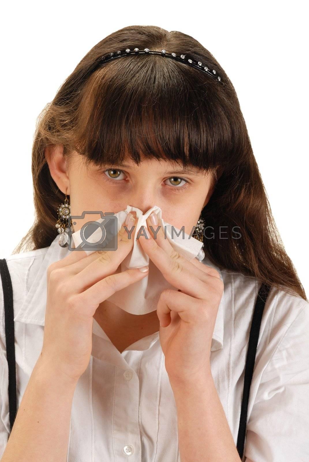 Girl with handkerchief. Studio shot over white.