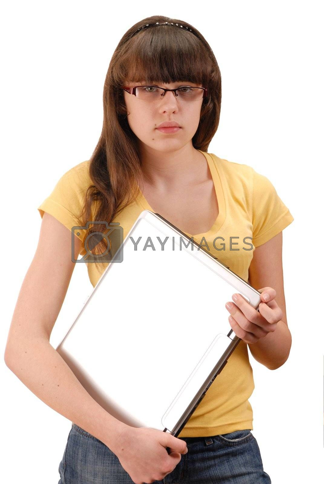 Teenage girl with notebook isolated on white