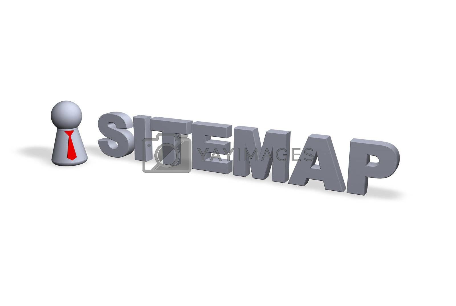 sitemap text in 3d and play figure with red tie