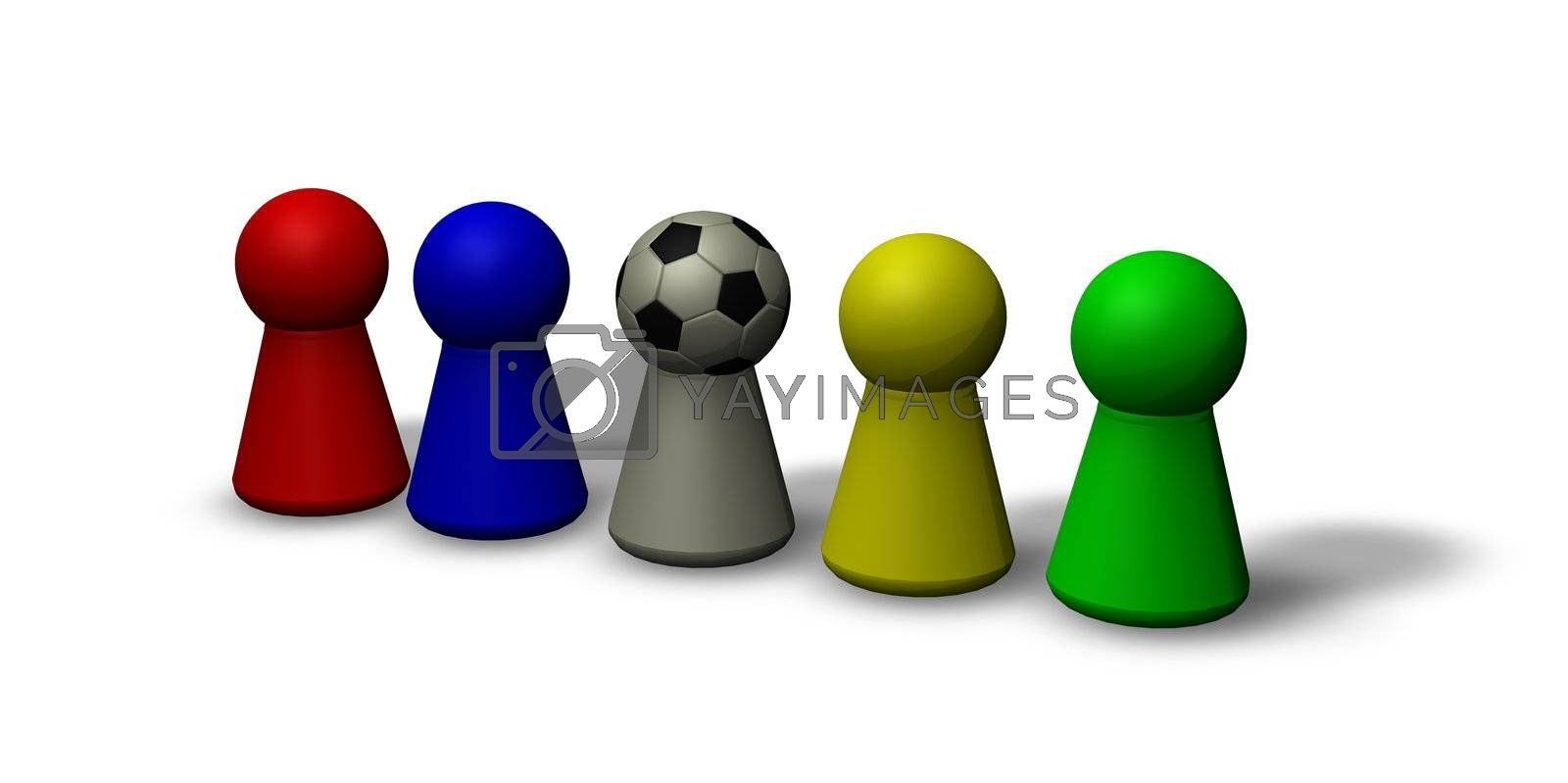play figures - multicolored and a soccerhead