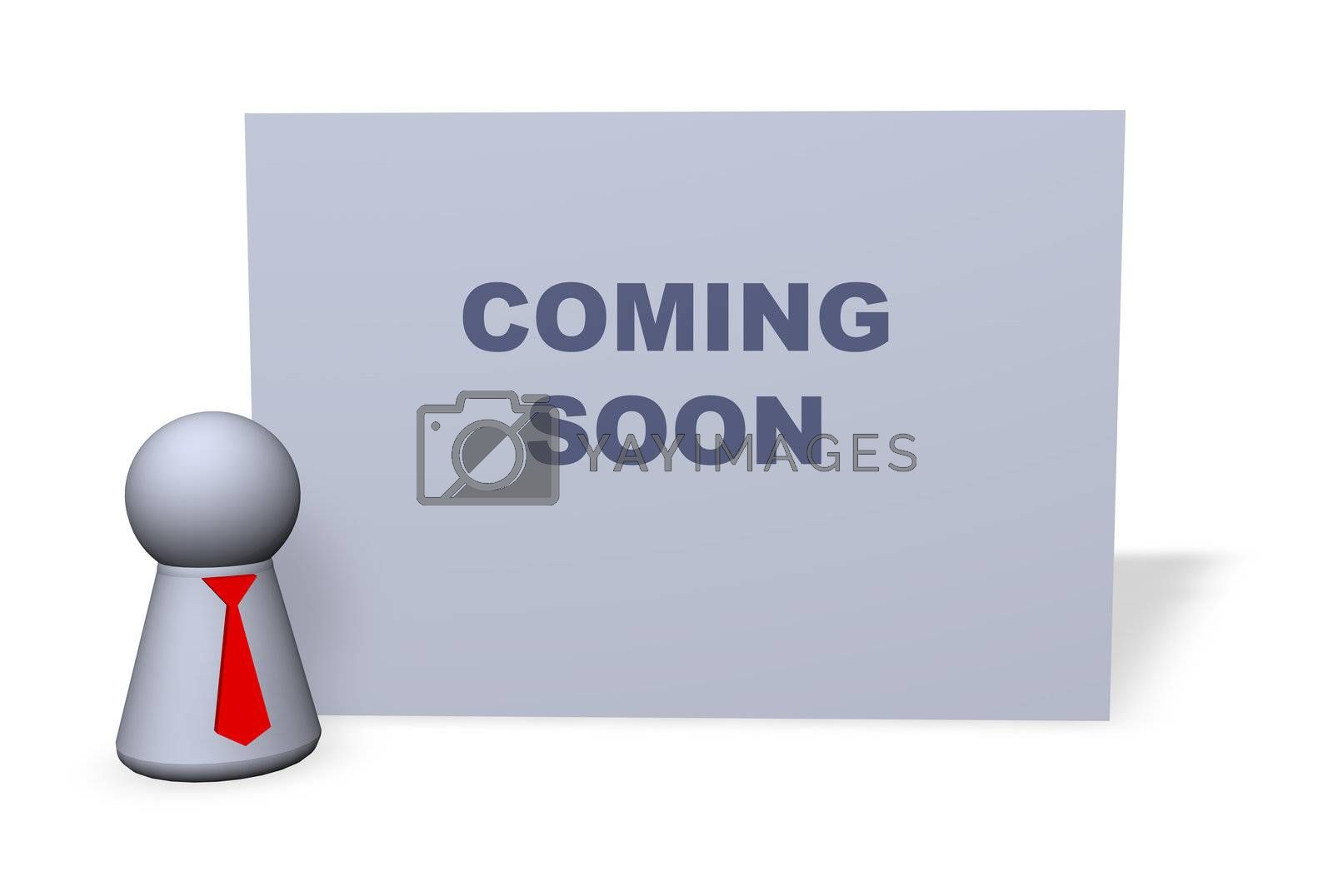 play figure with red tie and sign with coming soon text
