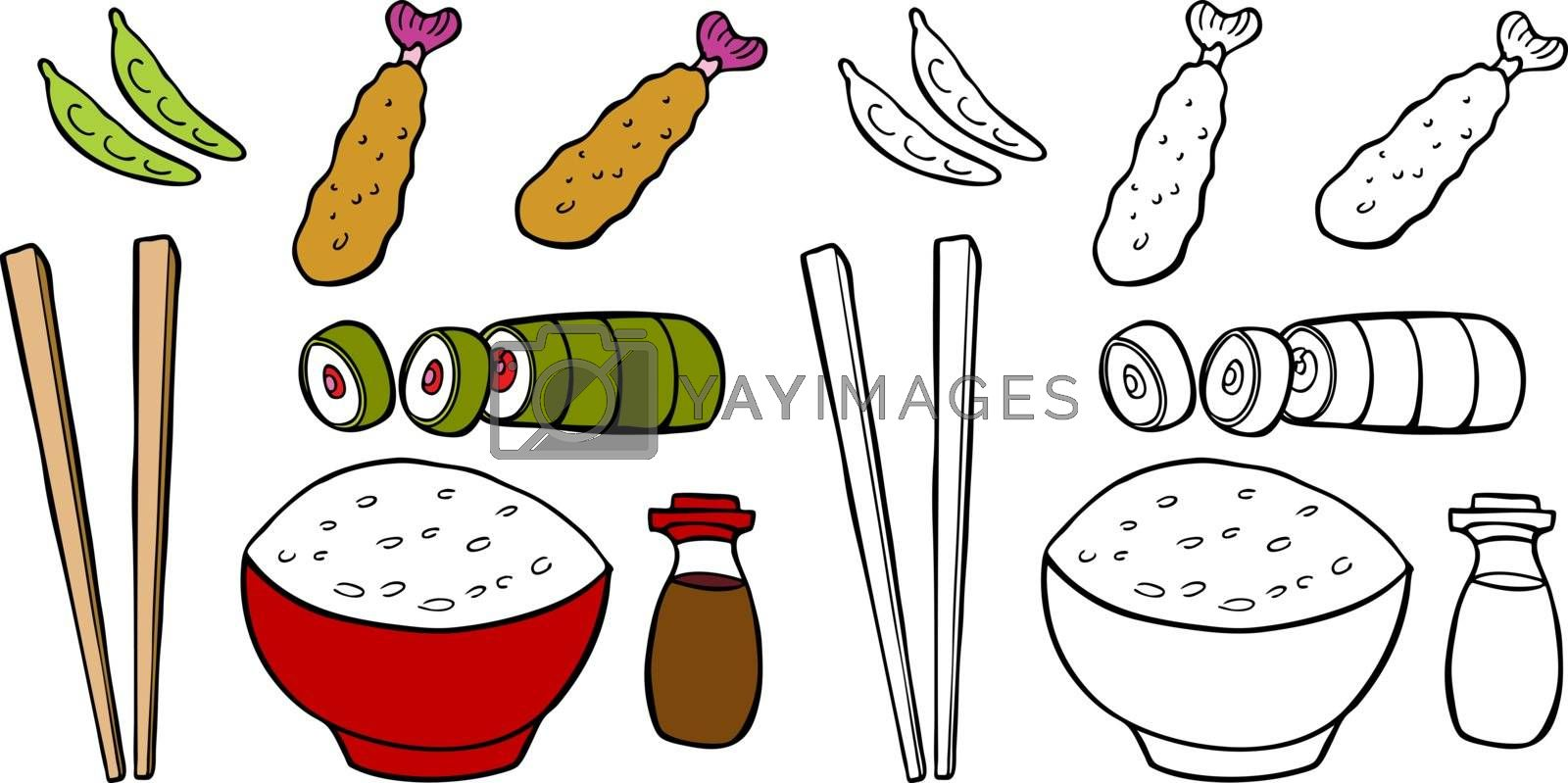 Cartoon image of a variety of different types of Asian food items - both color and black / white versions.