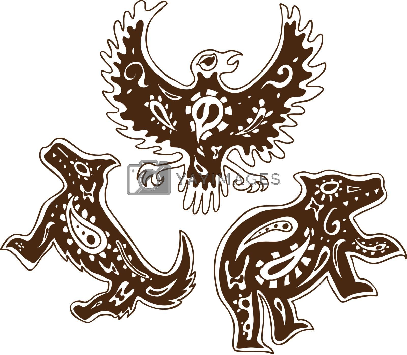 Set of 3 hand drawn tribal animals.