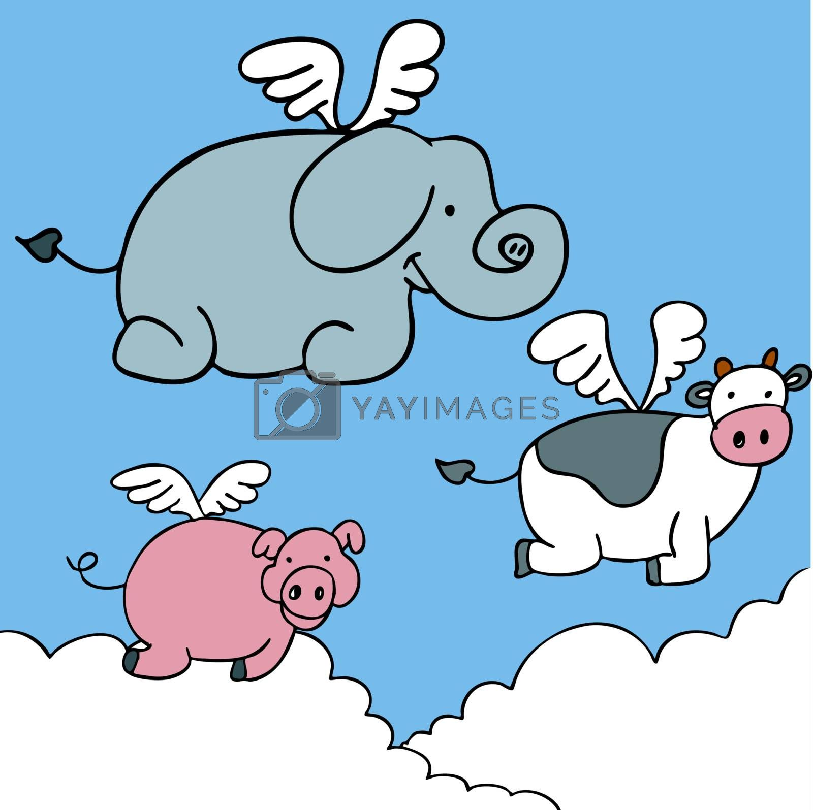 An image of flying animals.