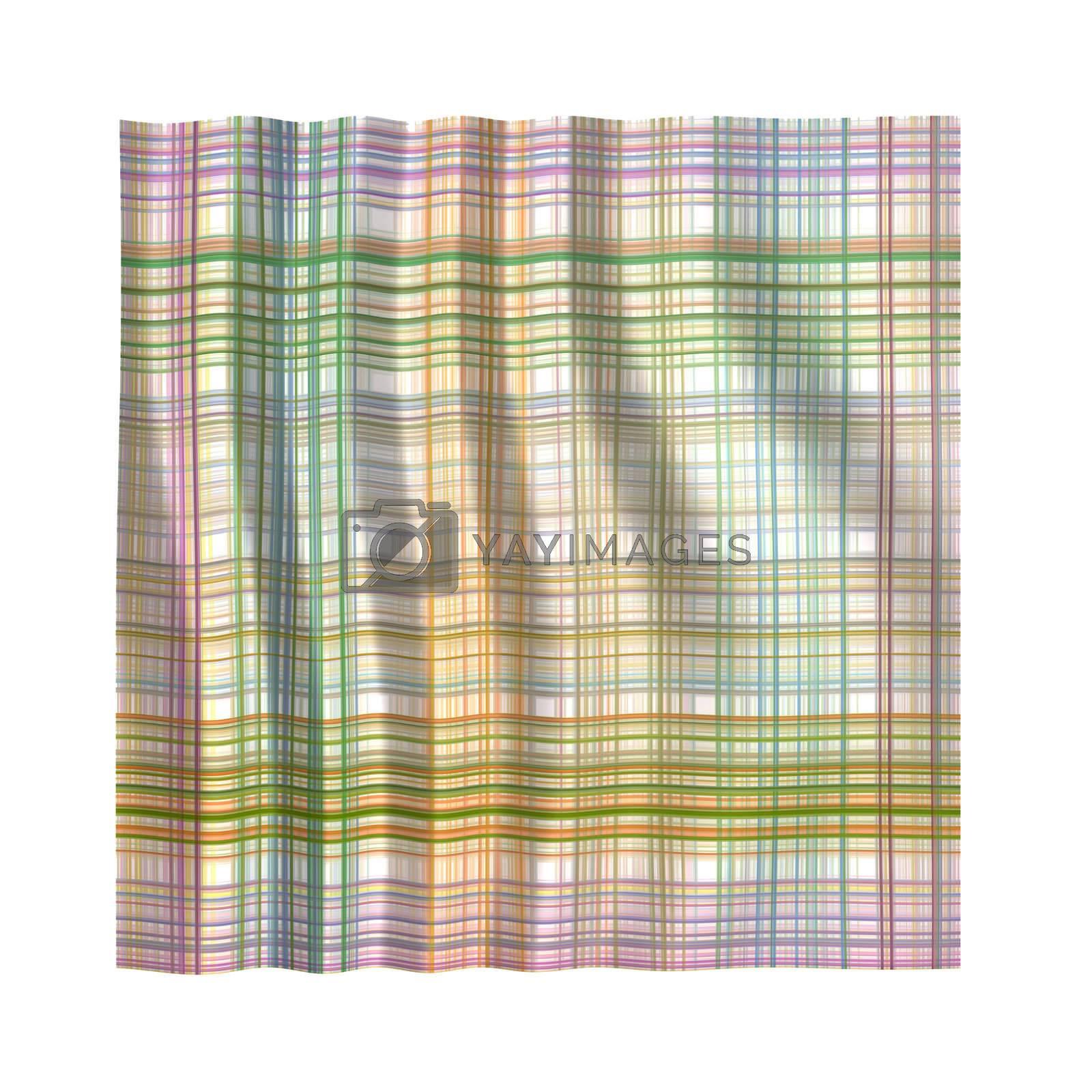 clean wrinkled tartan handkerchief in pastel colors on white background