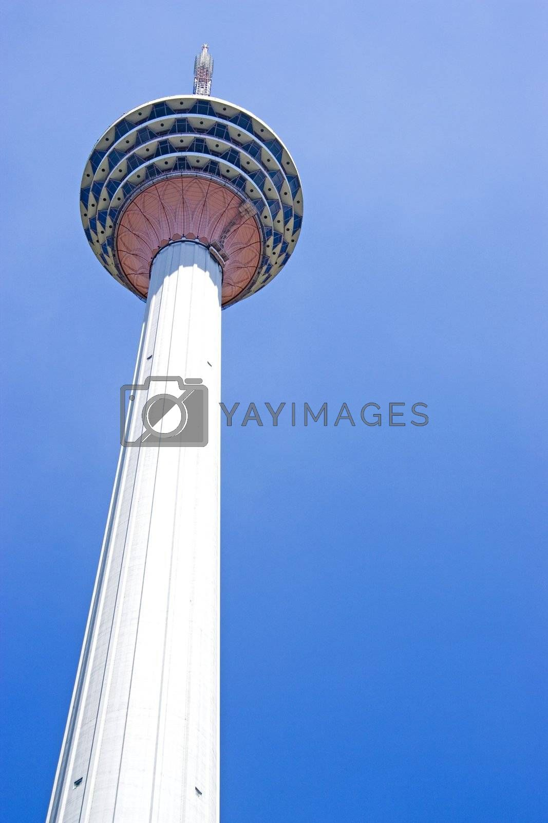 Image of a Kuala Lumpur Tower located in Malaysia. This is a communications tower with a viewing gallery and restaurant right at the top. An important landmark of Kuala Lumpur.