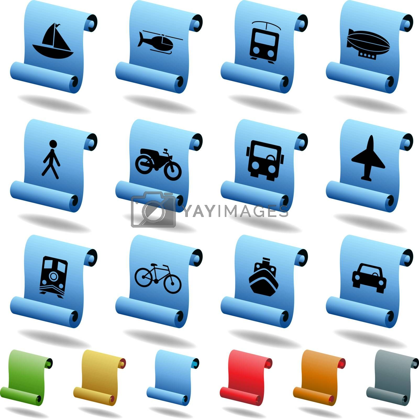 Set of 12 transportation web buttons - scroll style.