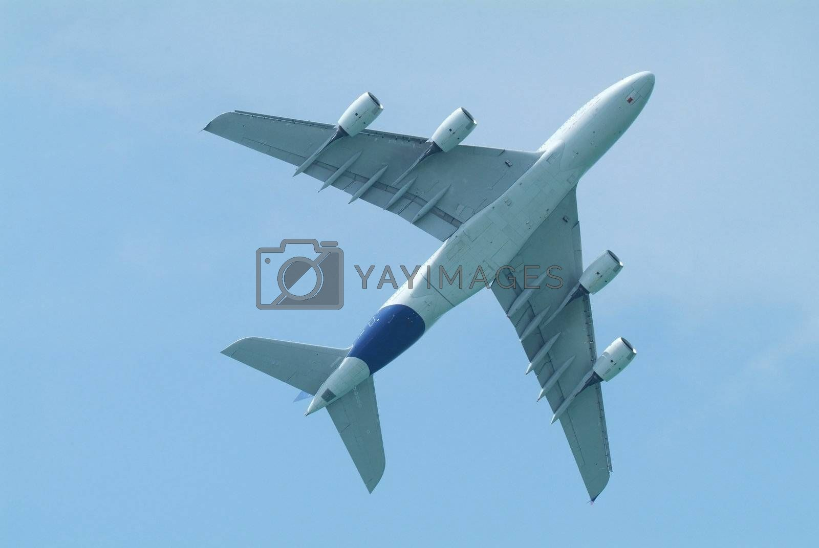Wide-body airliner from below by epixx
