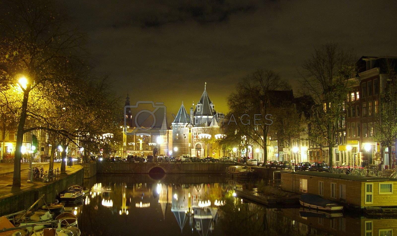 Amsterdam by night by windmill