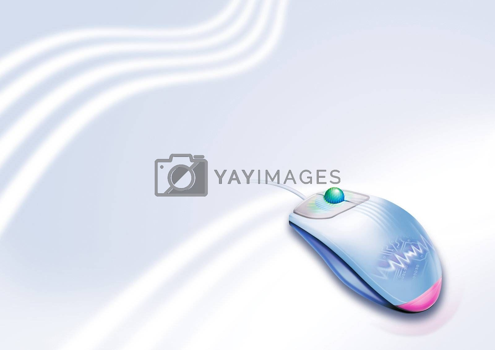 digital computer mouse illustration with light background