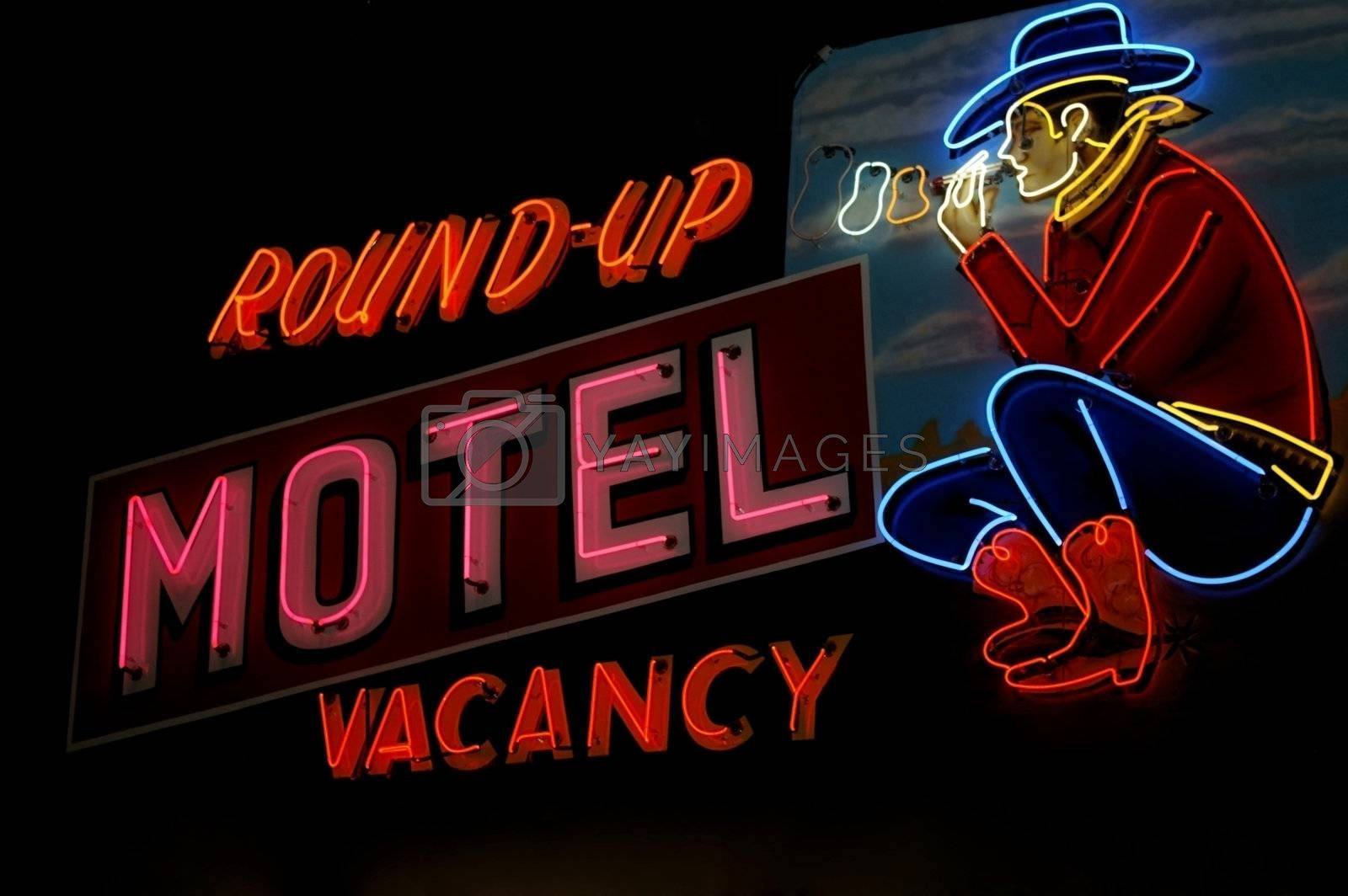 Motel sign along Route 66 in Oklahoma.