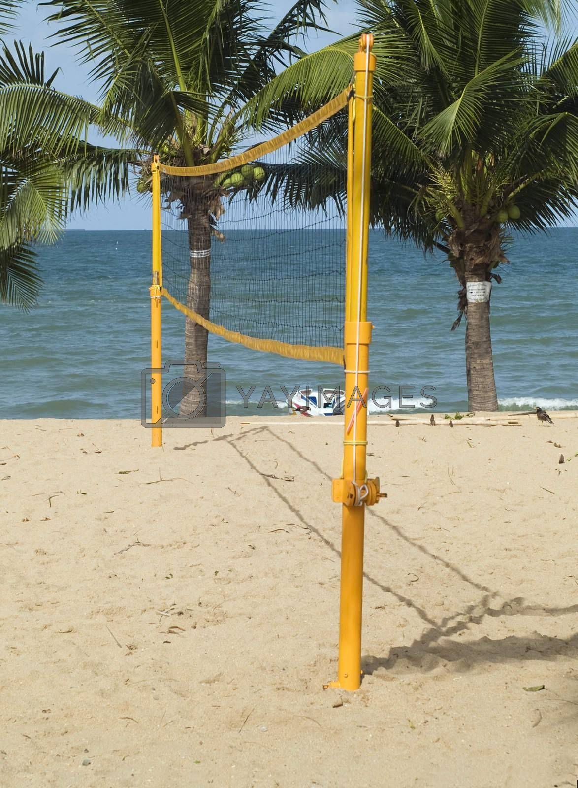 Volleyball net on the beach by epixx