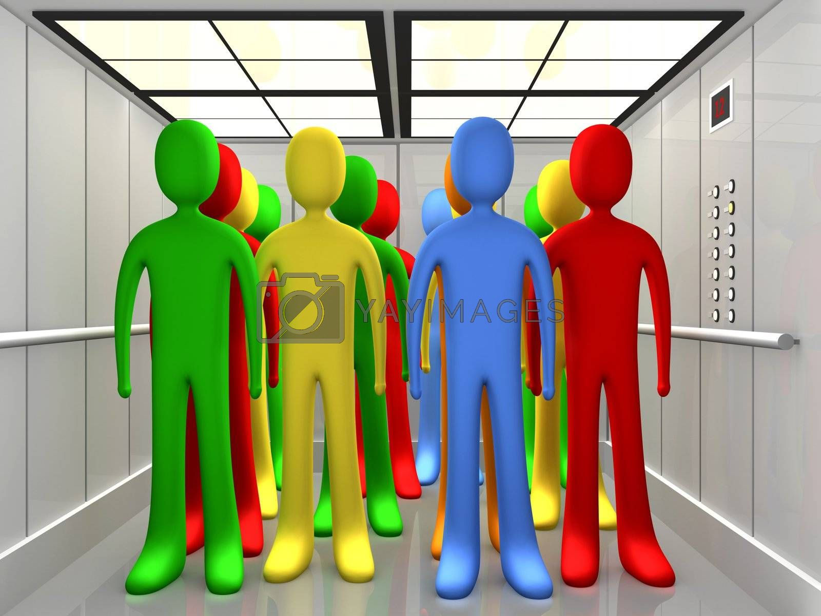 Computer Generated Image - People In Elevator .