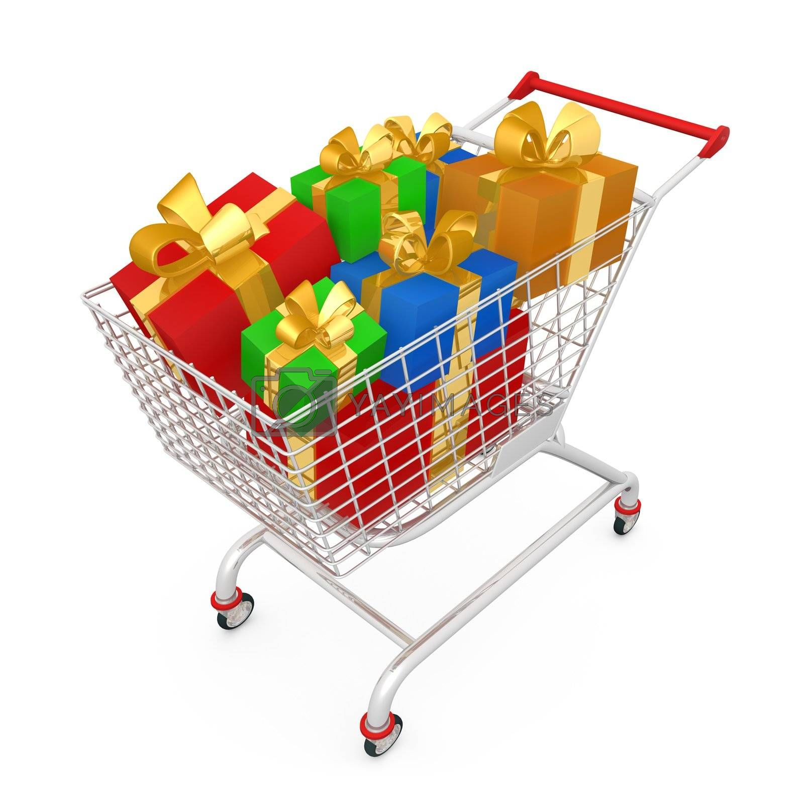 Shopping Cart With Presents by 3pod