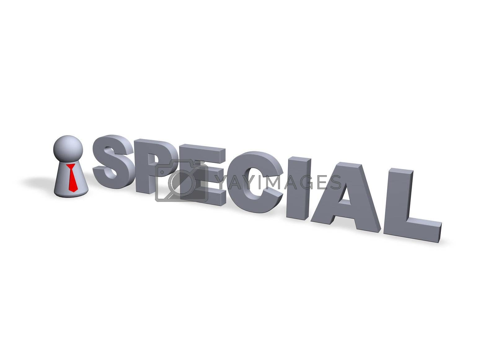 special text in3d and play figure with red tie