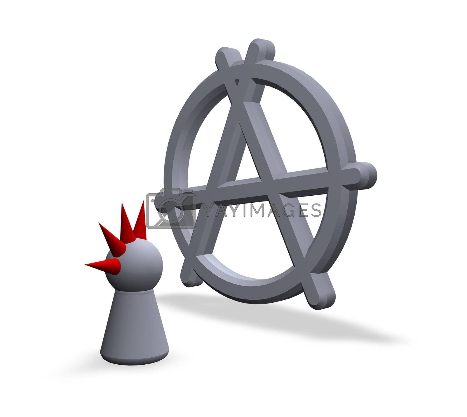 anarchy symbol in 3d and play figure punk wit red hair