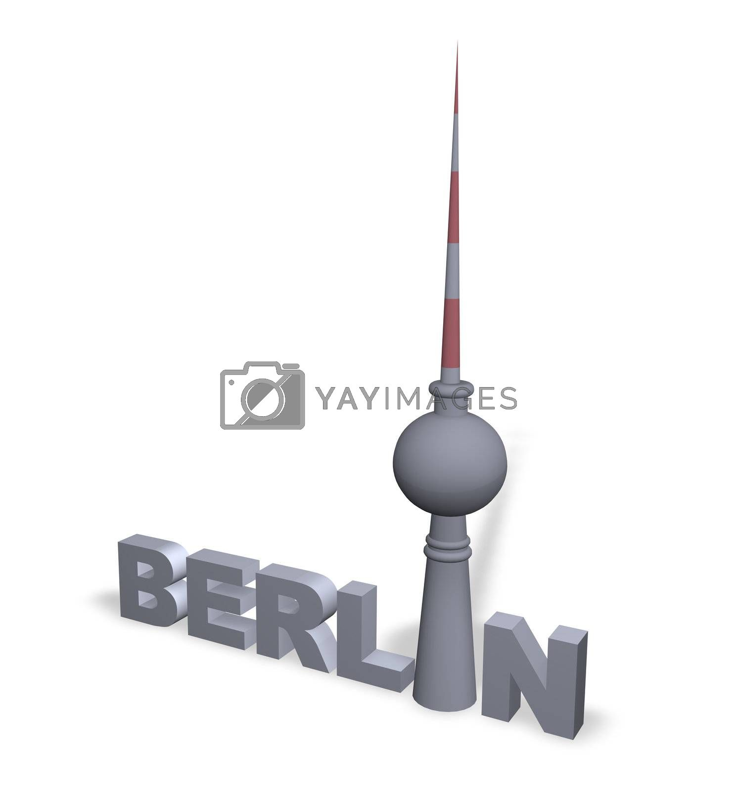 the word berlin with the tv tower - 3d illustration