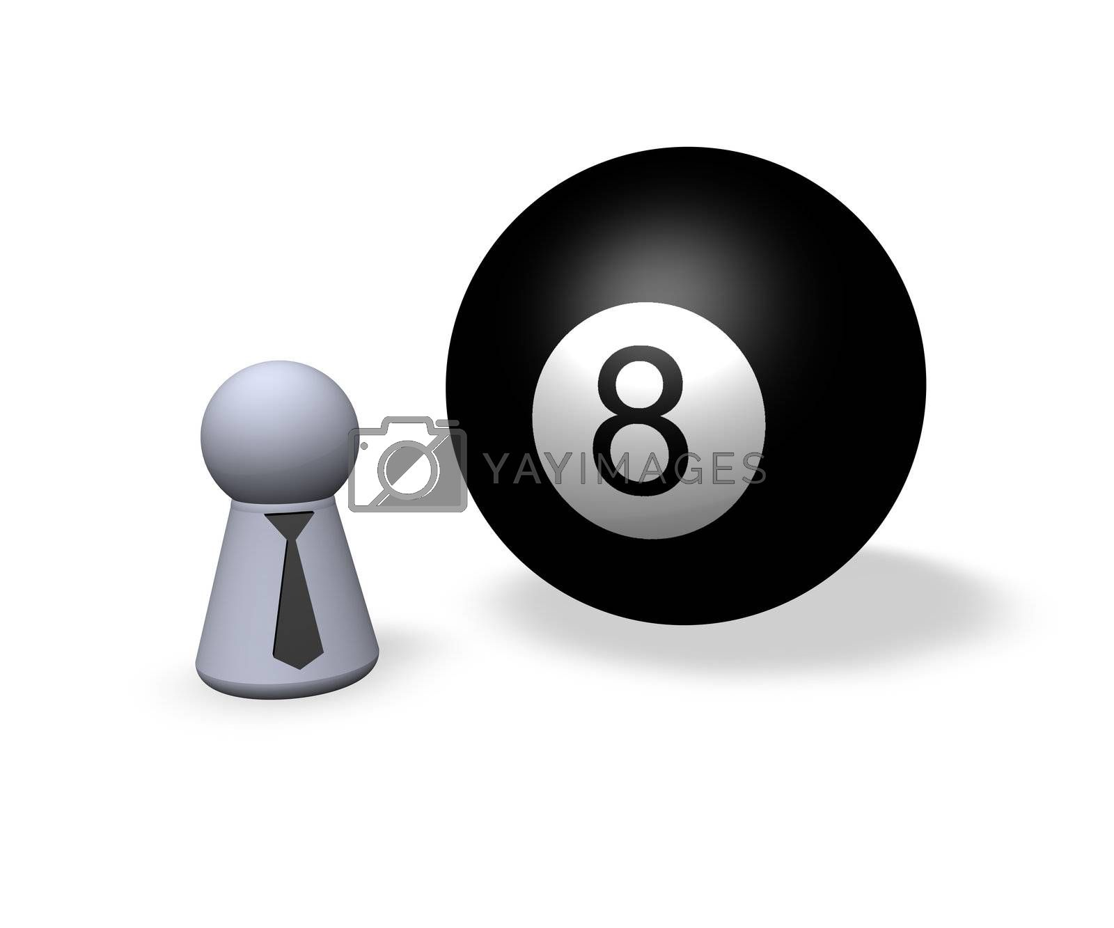 billiard ball eight and play figure with black tie