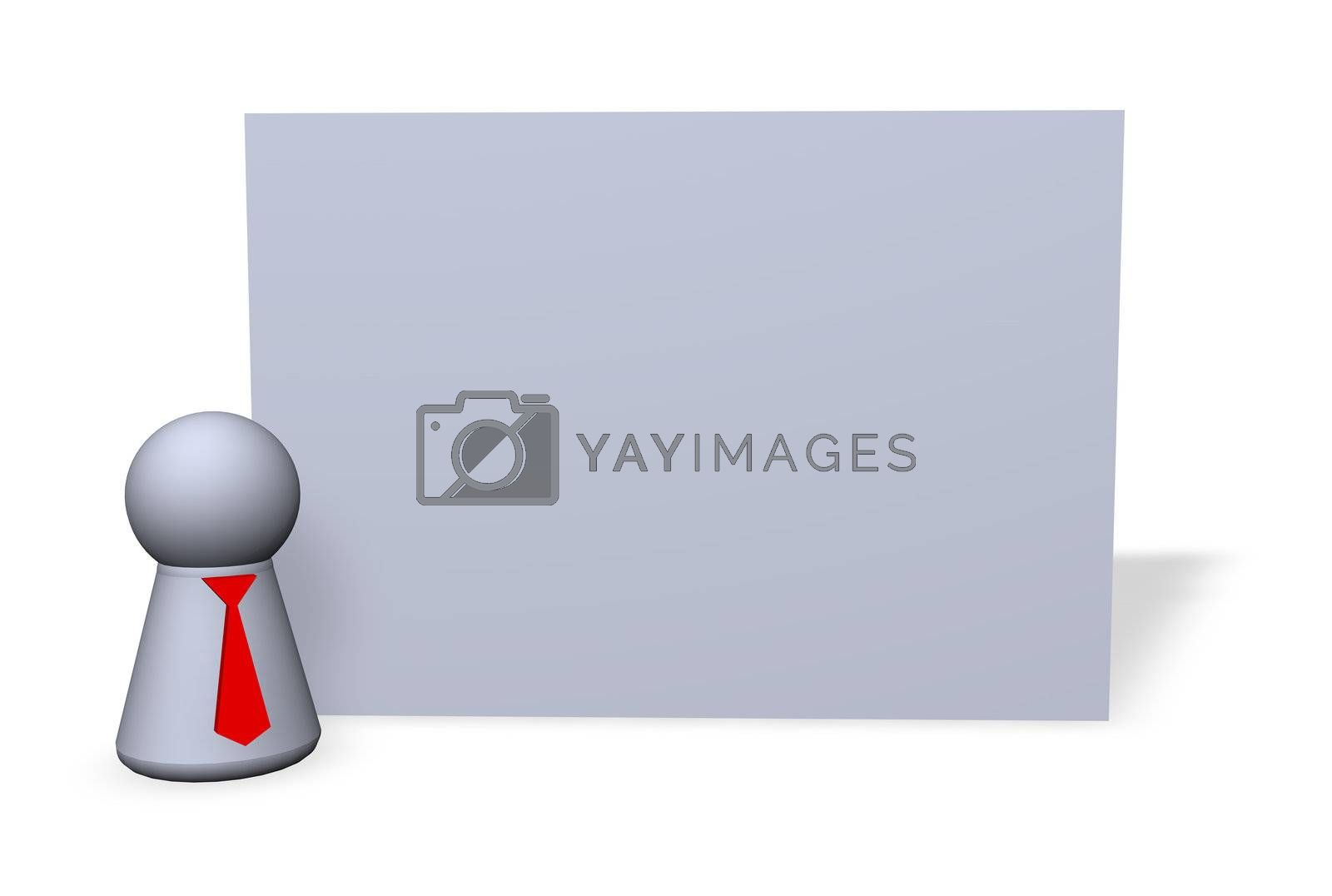 blank sign and play figure with red tie - 3d illustration