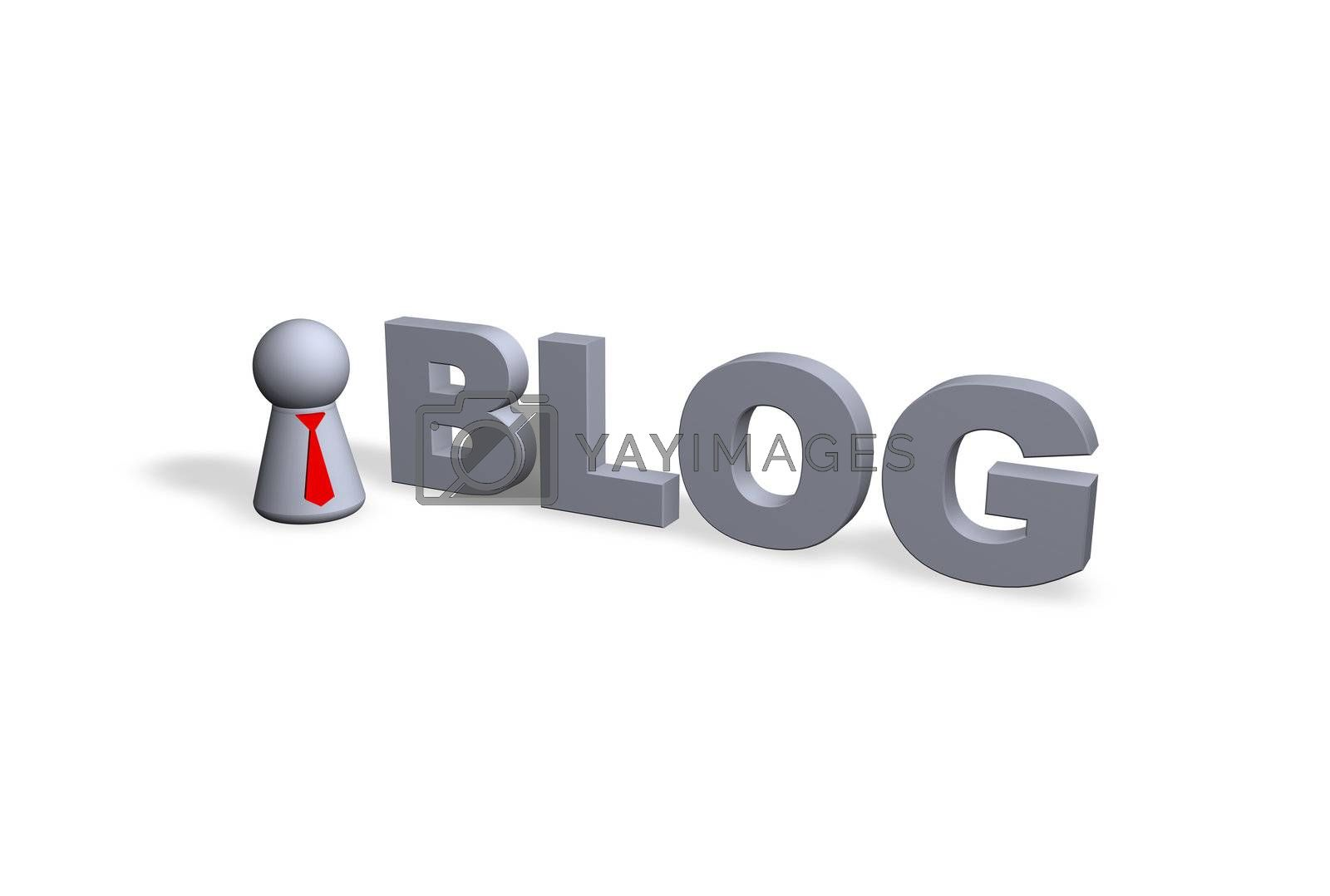 blog text in 3d and play figure with red tie