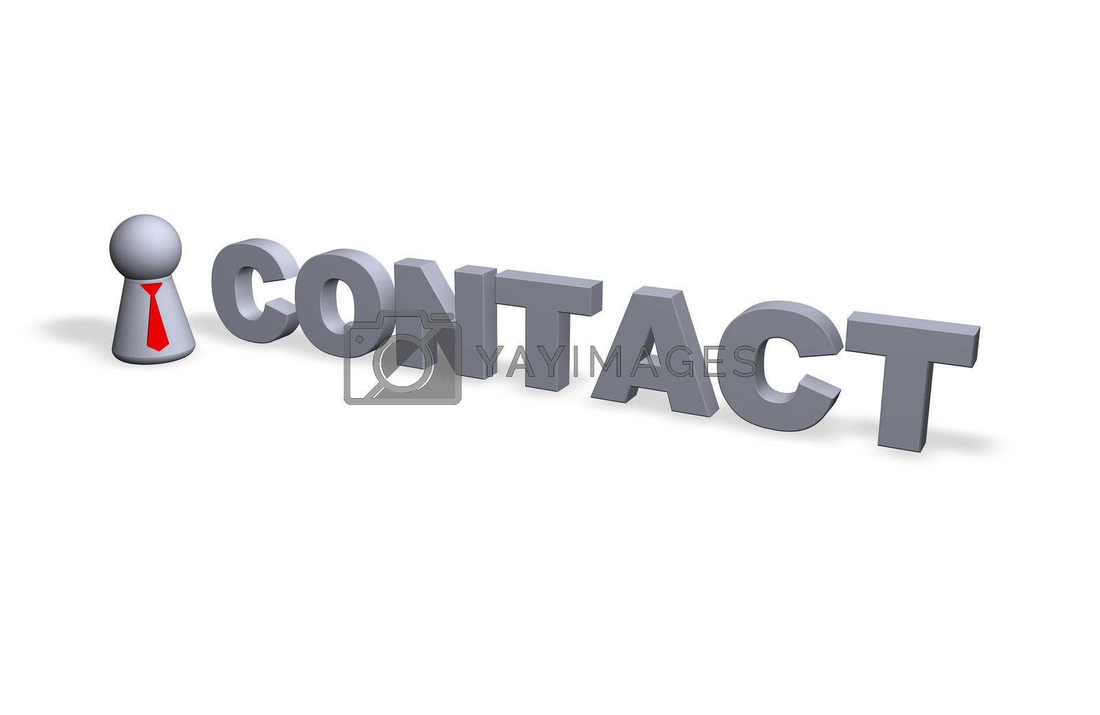 contact text in 3d and play figure with red tie