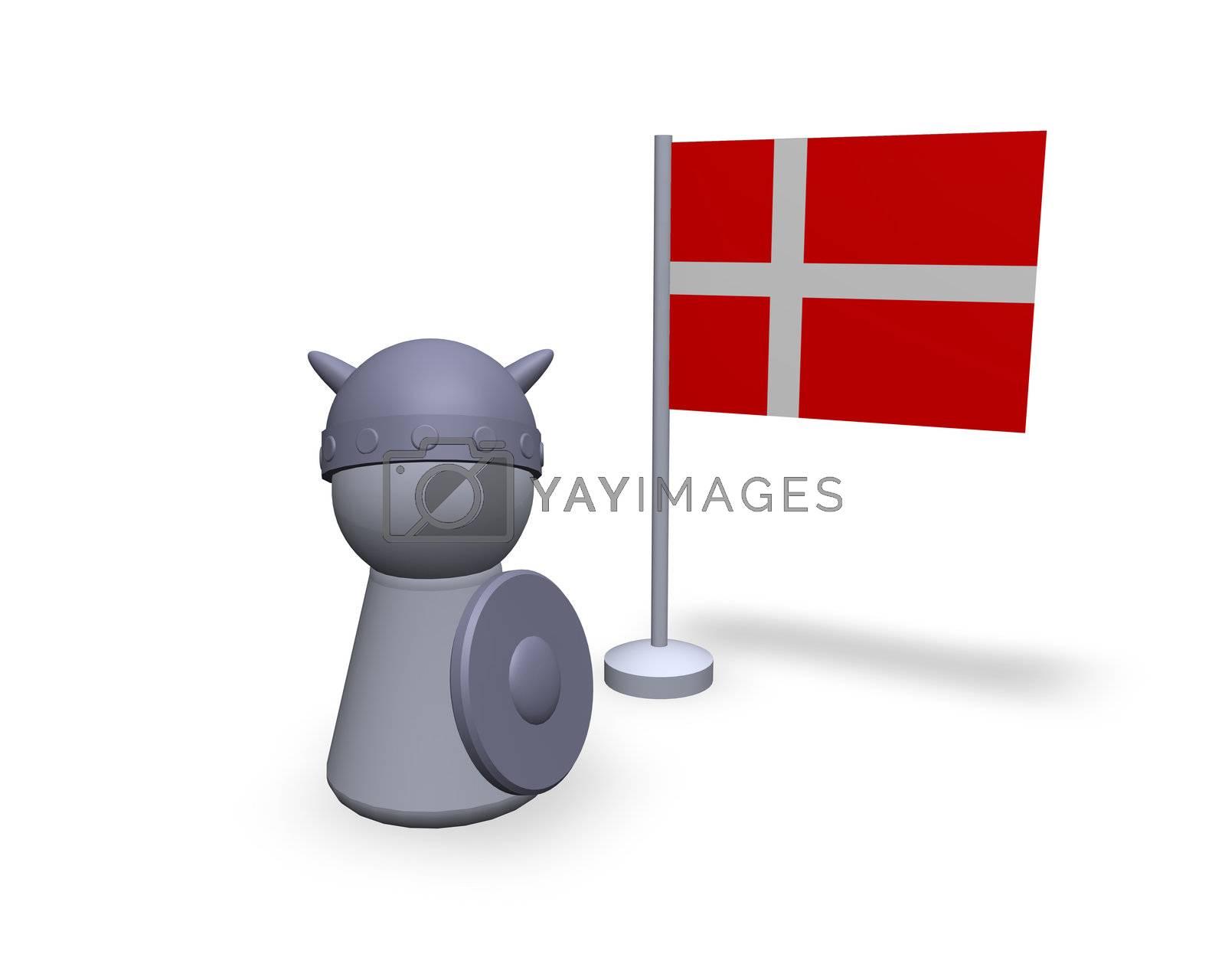 viking play figure with denmark flag
