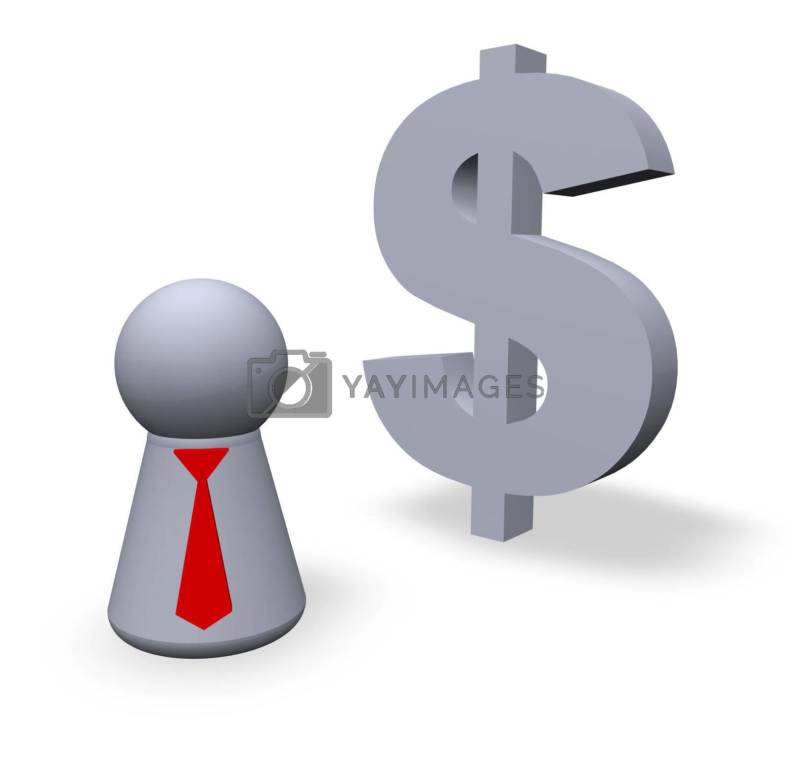 dollar symbol in 3d and play figure with red tie