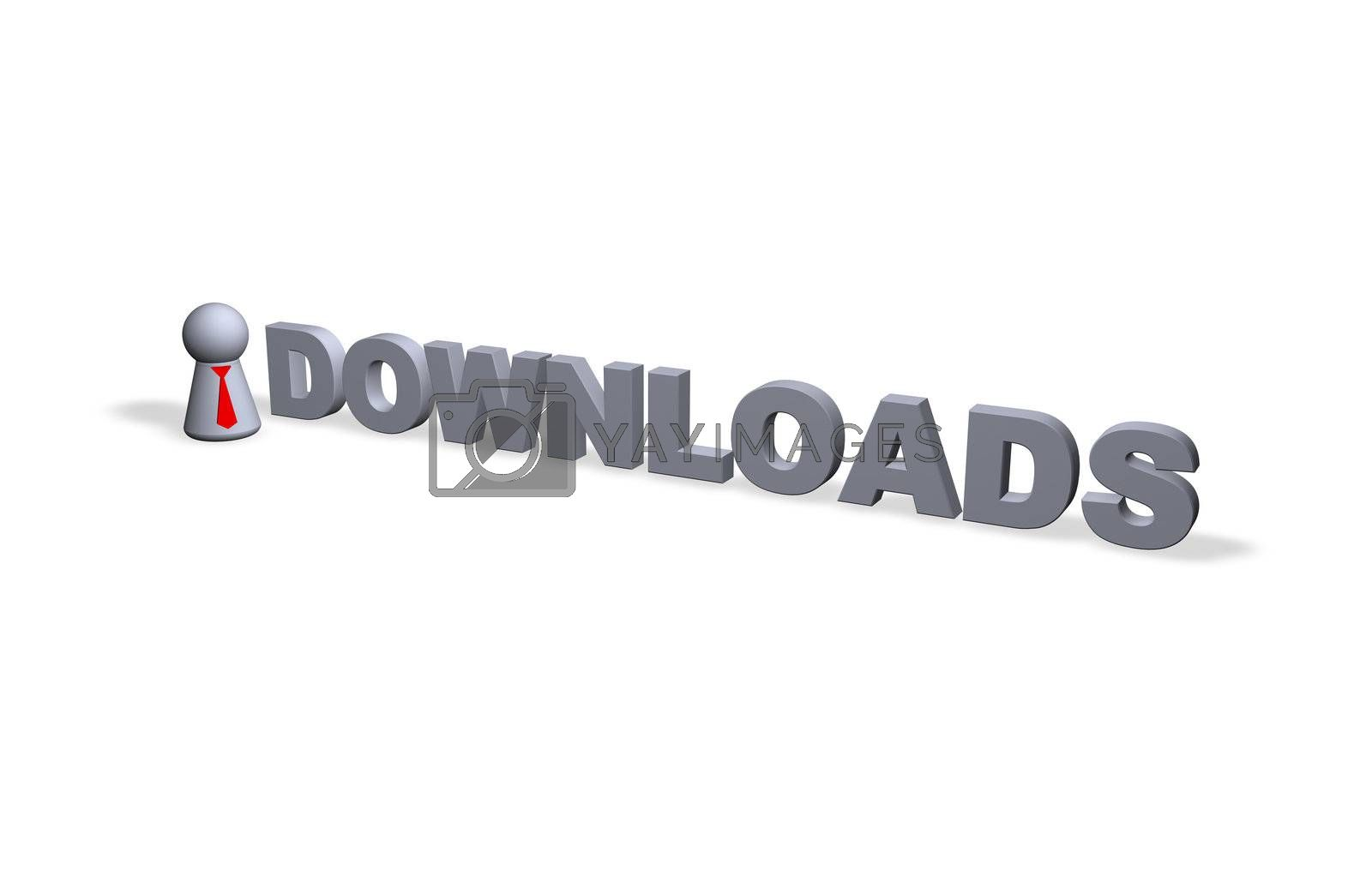 play figure with red tie and downloads text in 3d