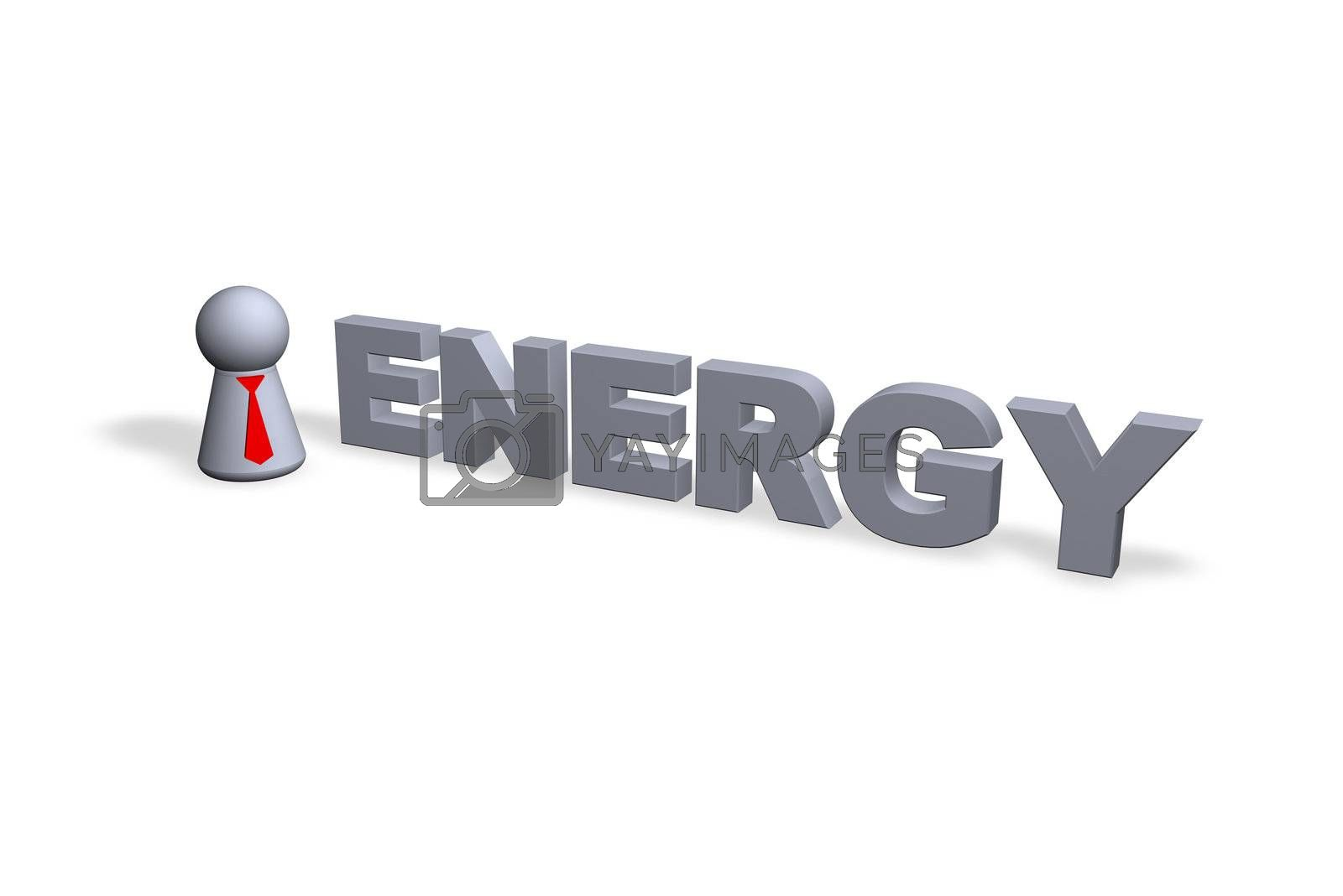 play figure businessman with red tie and energy text in 3d