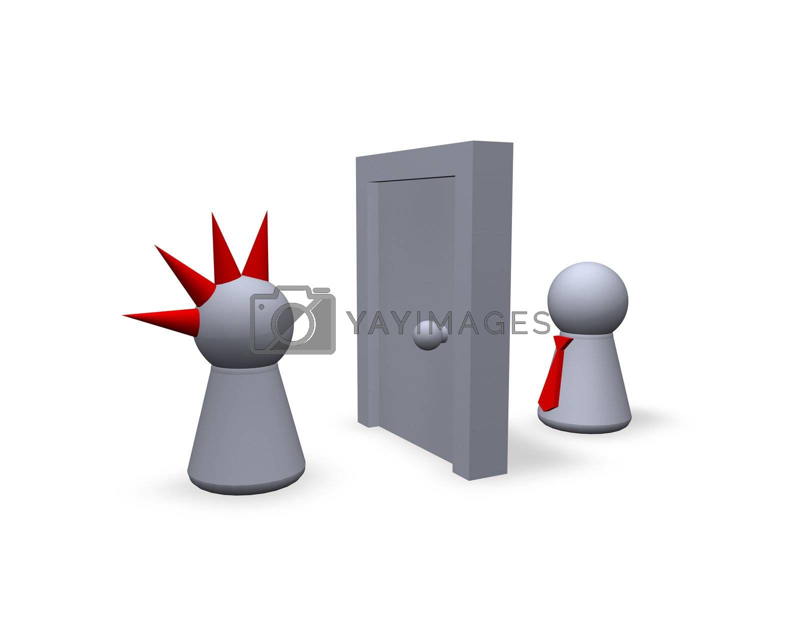 play figures punk and businessman with a door between