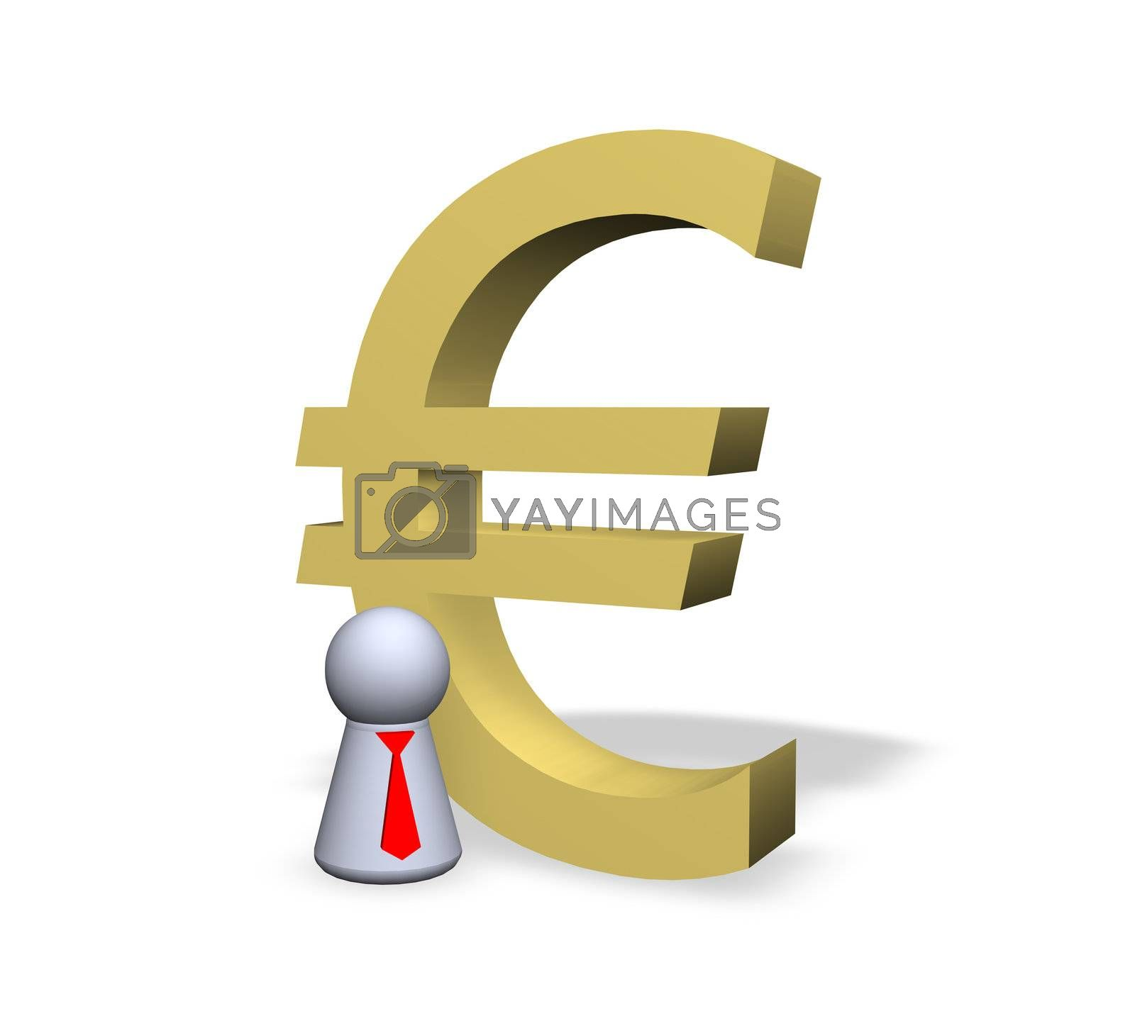 euro symbol and play figure businessman with red tie