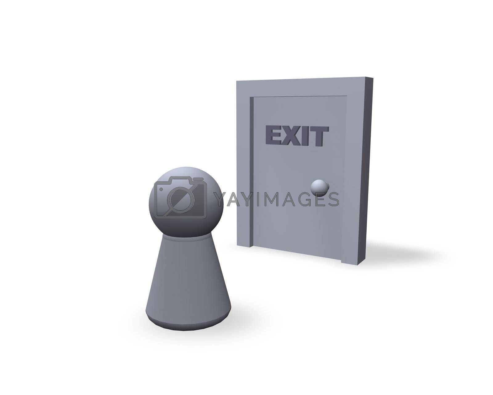 play figure and door with exit text
