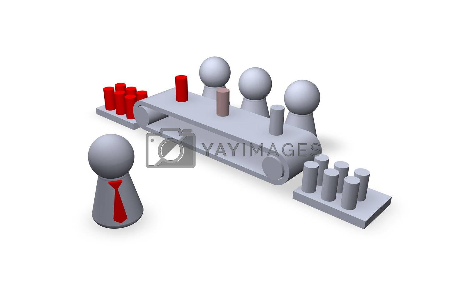play figures boss and worker in a factory