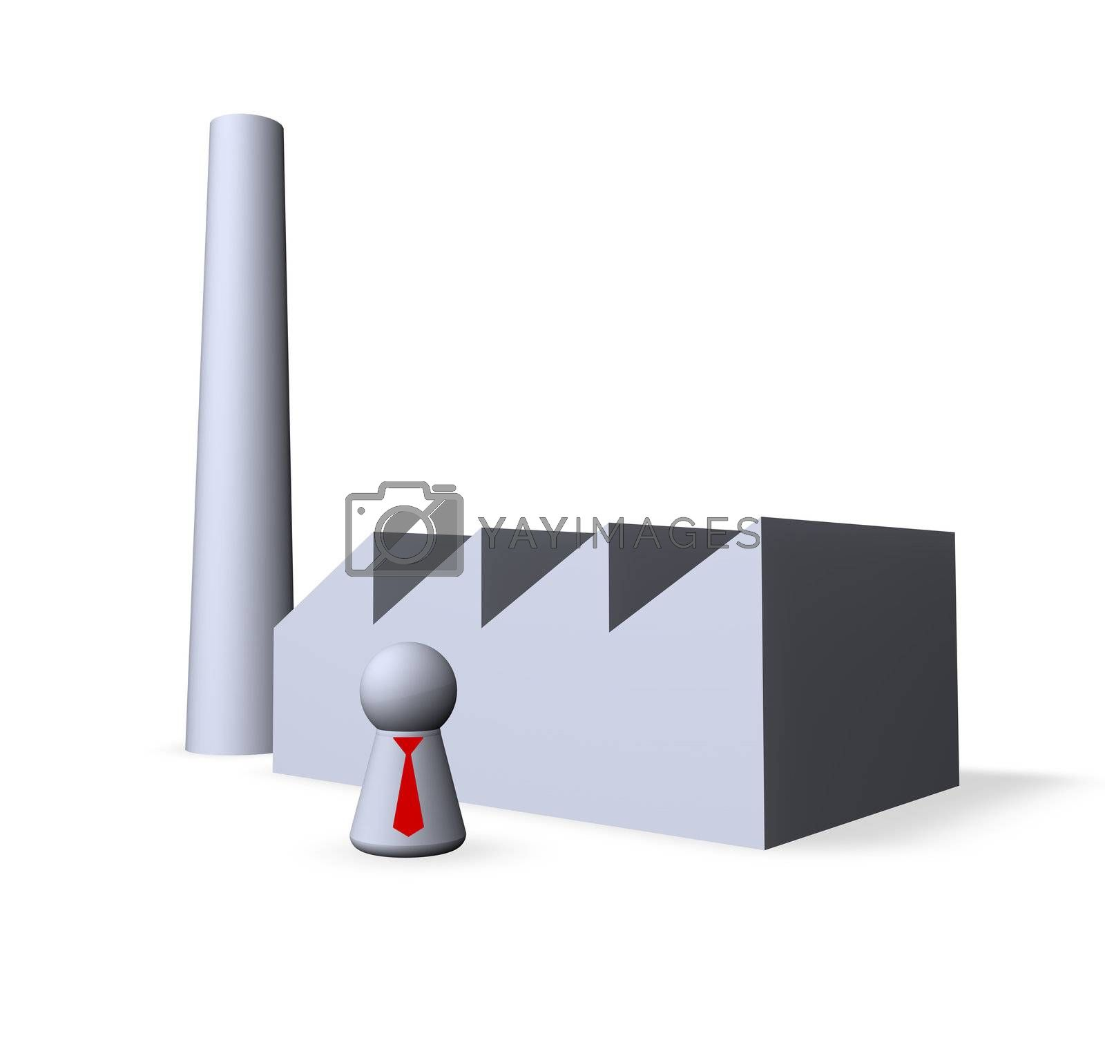 play figure with red tie and factory buildings
